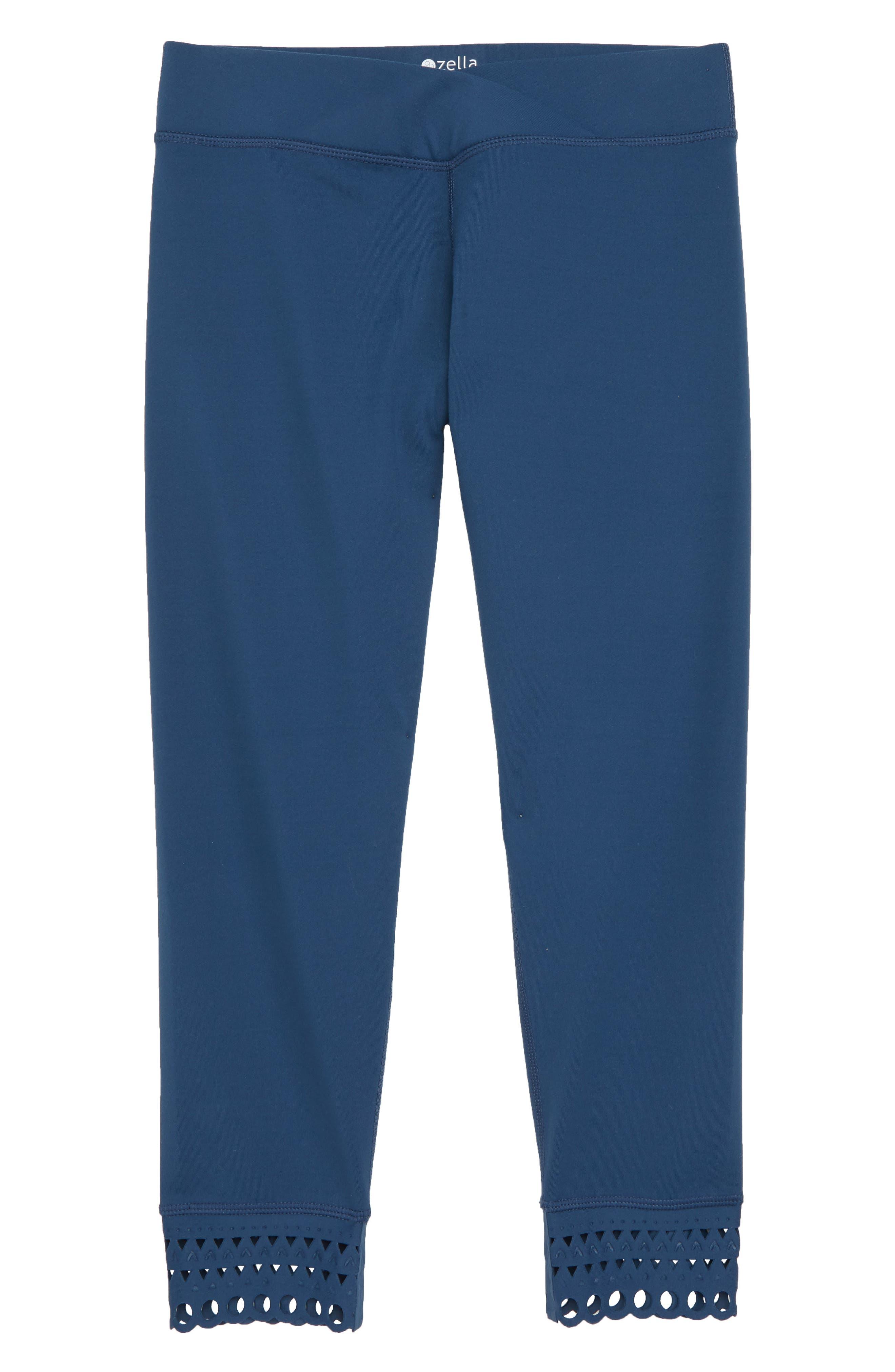Laser Cut Crop Leggings,                         Main,                         color, Blue Insignia
