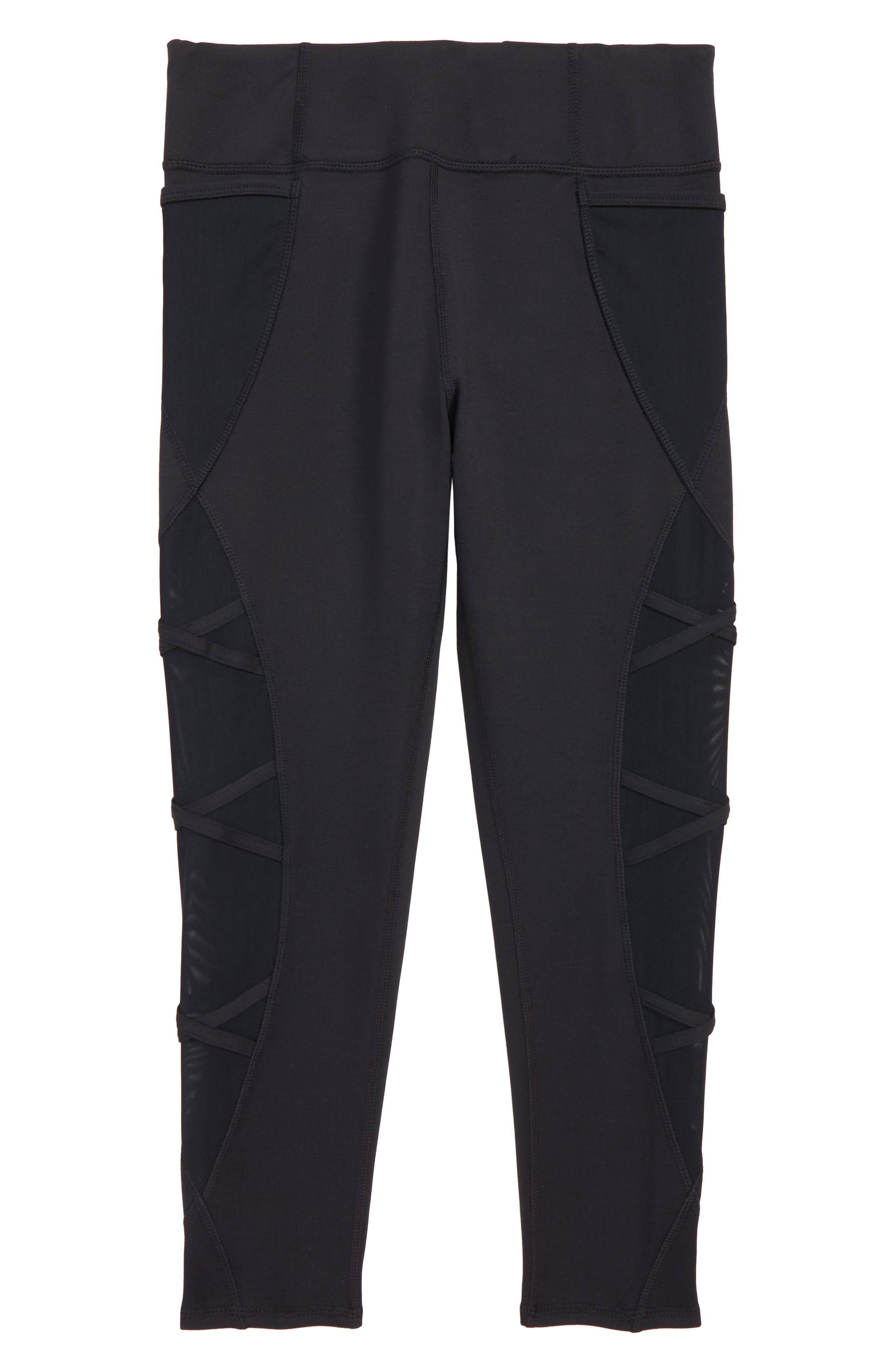 Mesh Crisscross Crop Leggings,                         Main,                         color, Black