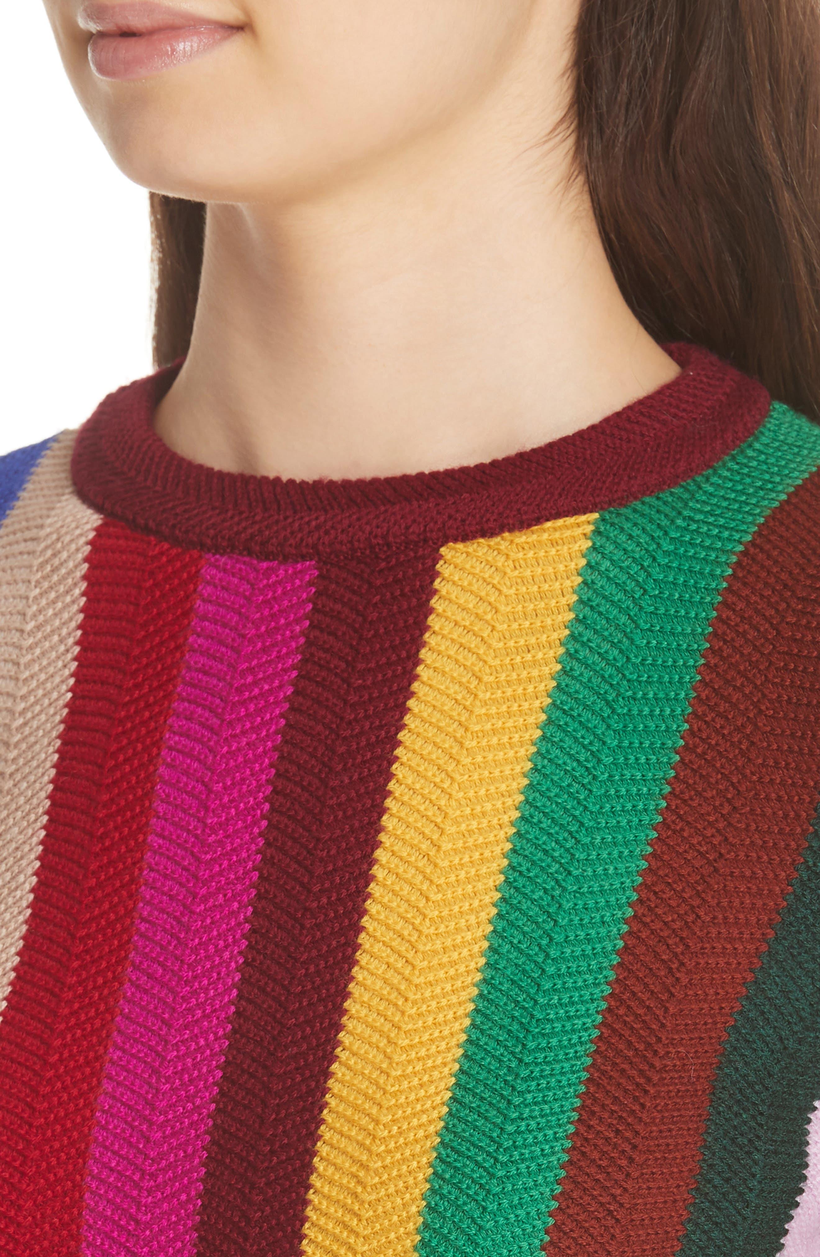 Chevron Vertical Stripe Wool Blend Scallop Hem Sweater,                             Alternate thumbnail 5, color,                             Rainbow Multi