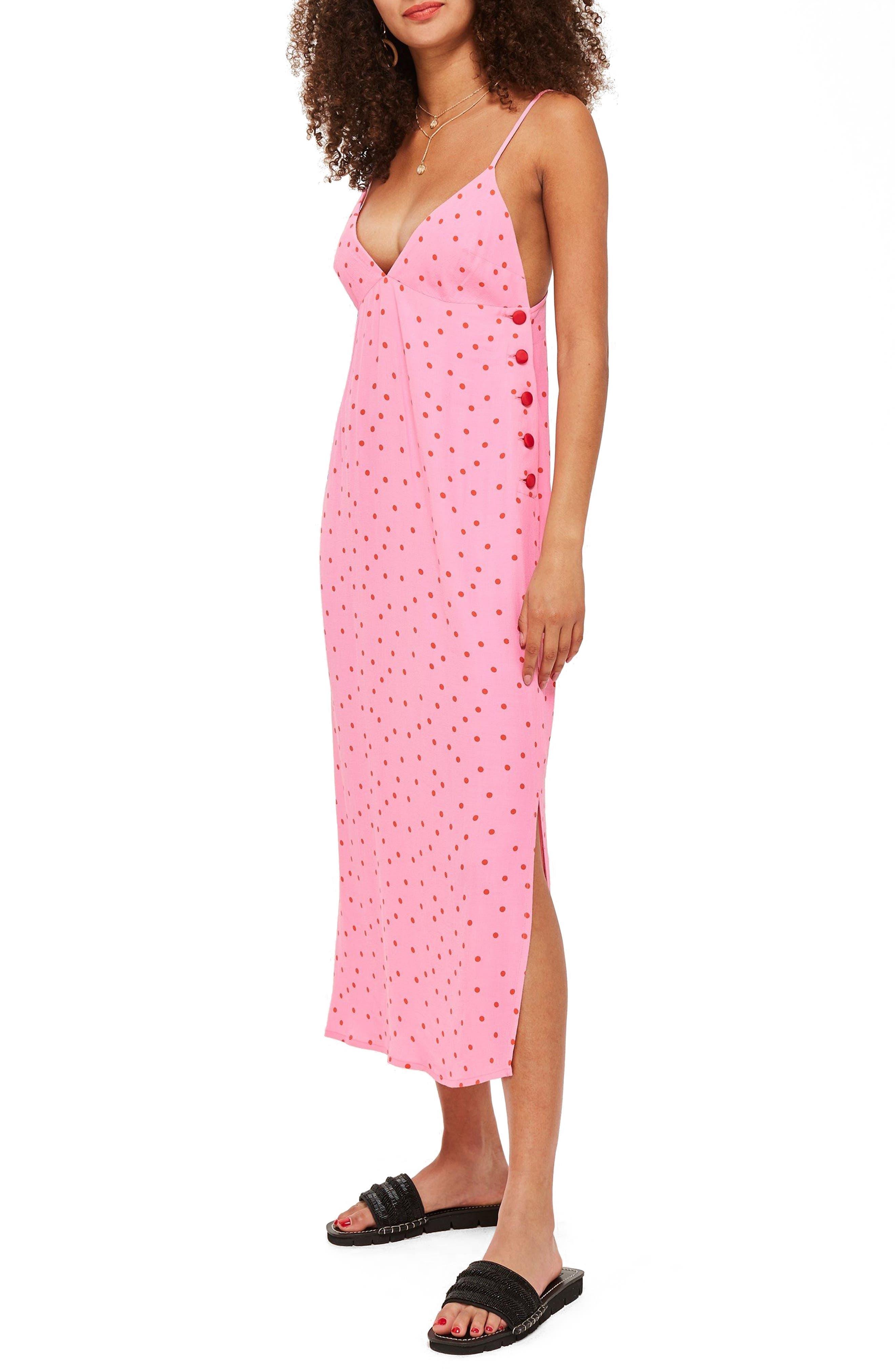 Spot Button Side Slipdress,                         Main,                         color, Pink Multi