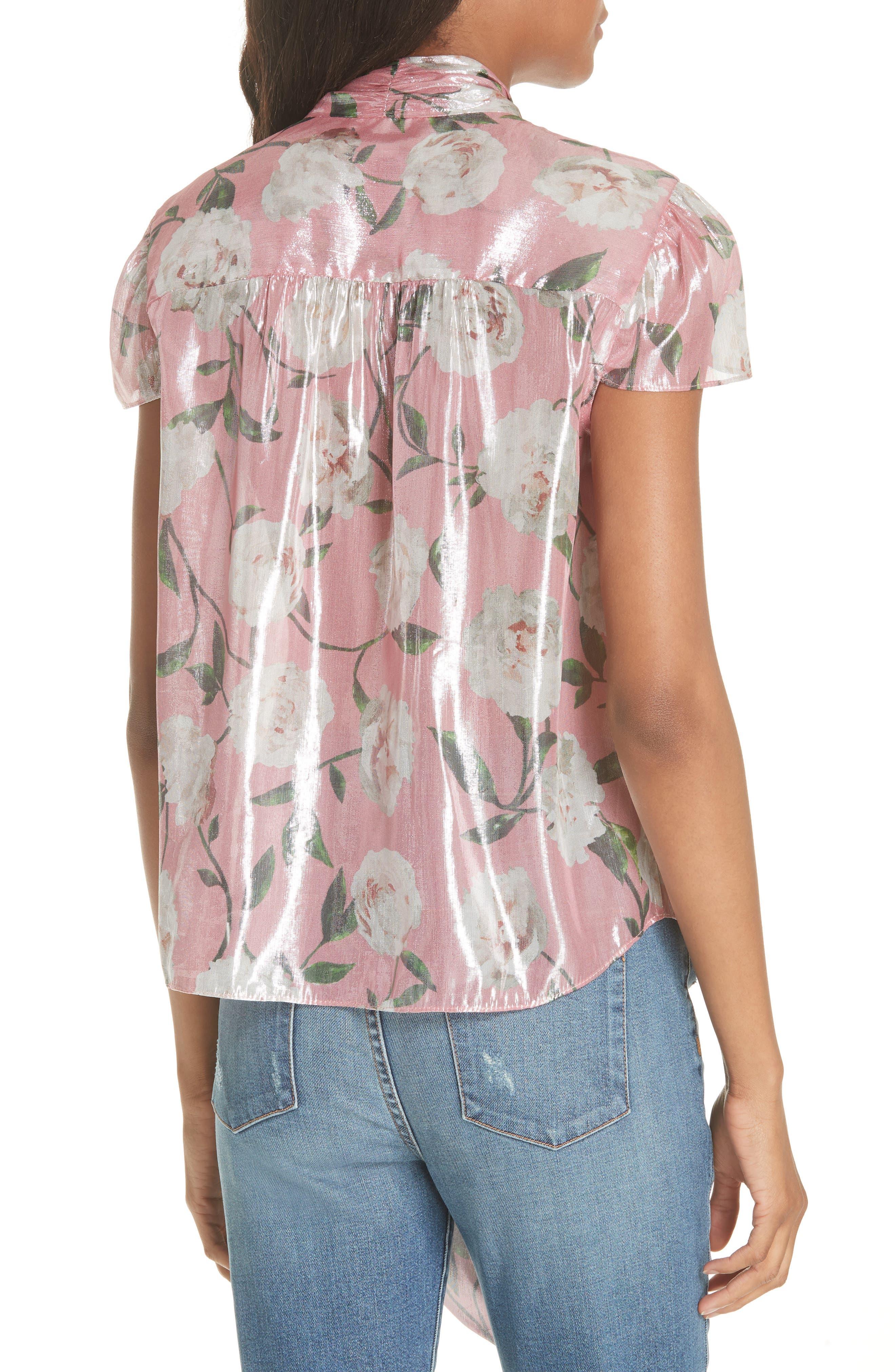 Jeannie Bow Collar Silk Blend Top,                             Alternate thumbnail 3, color,                             Peony Garden Wall/ Bubblegum