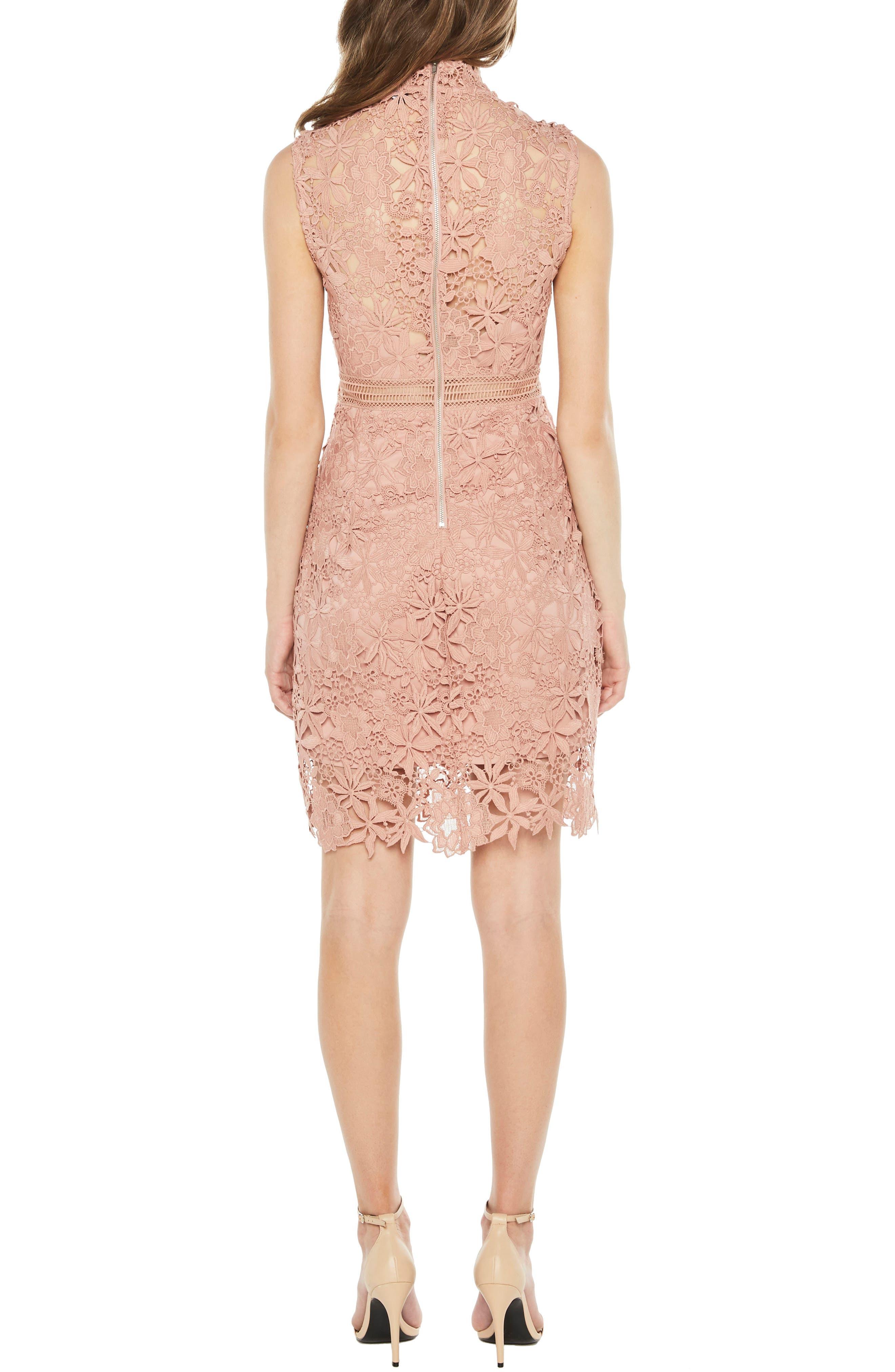 Paris Lace Body-Con Dress,                             Alternate thumbnail 2, color,                             Bloom