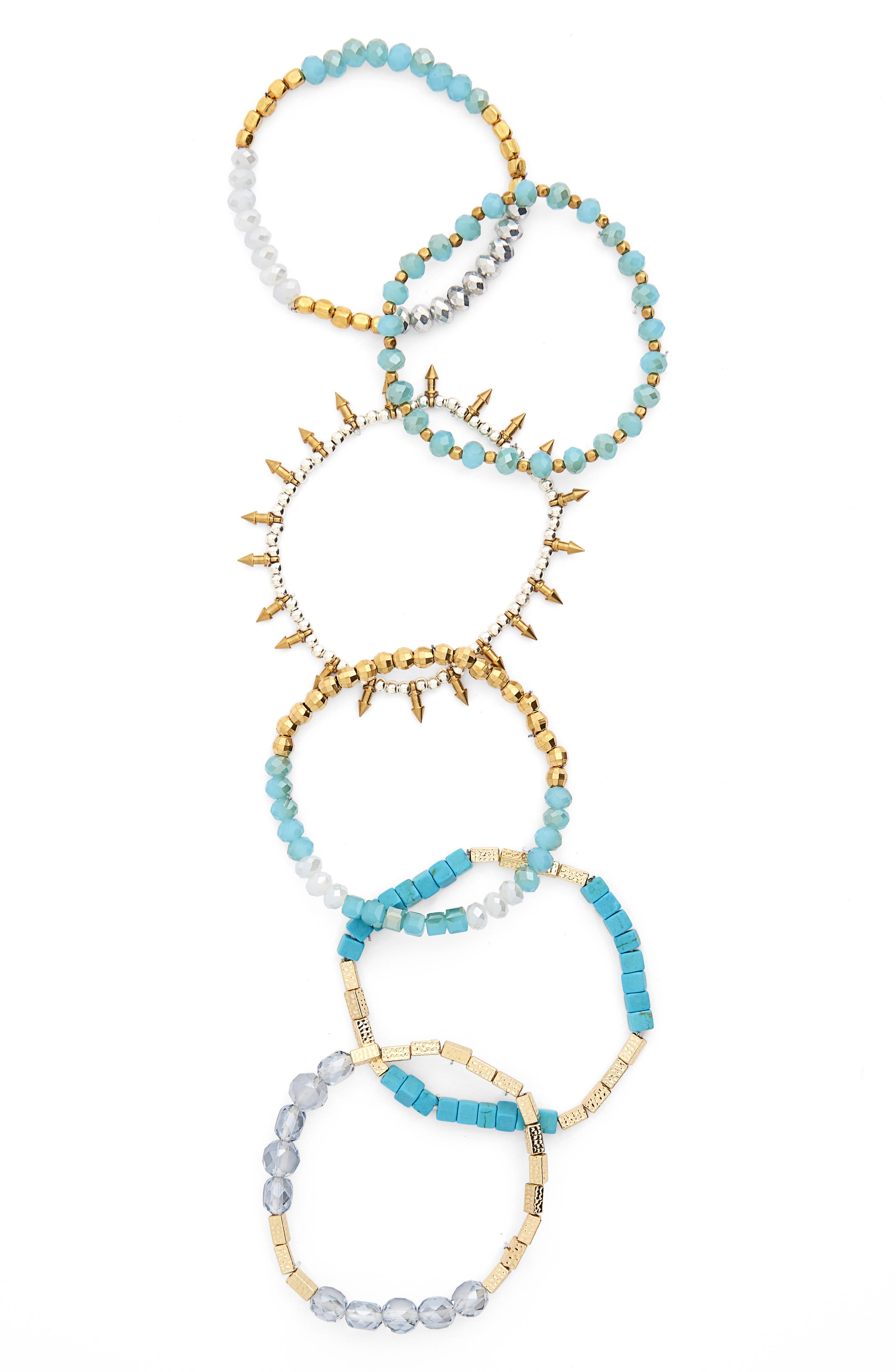 Set of 6 Assorted Stretch Bracelets,                         Main,                         color, Turquoise/ Multi