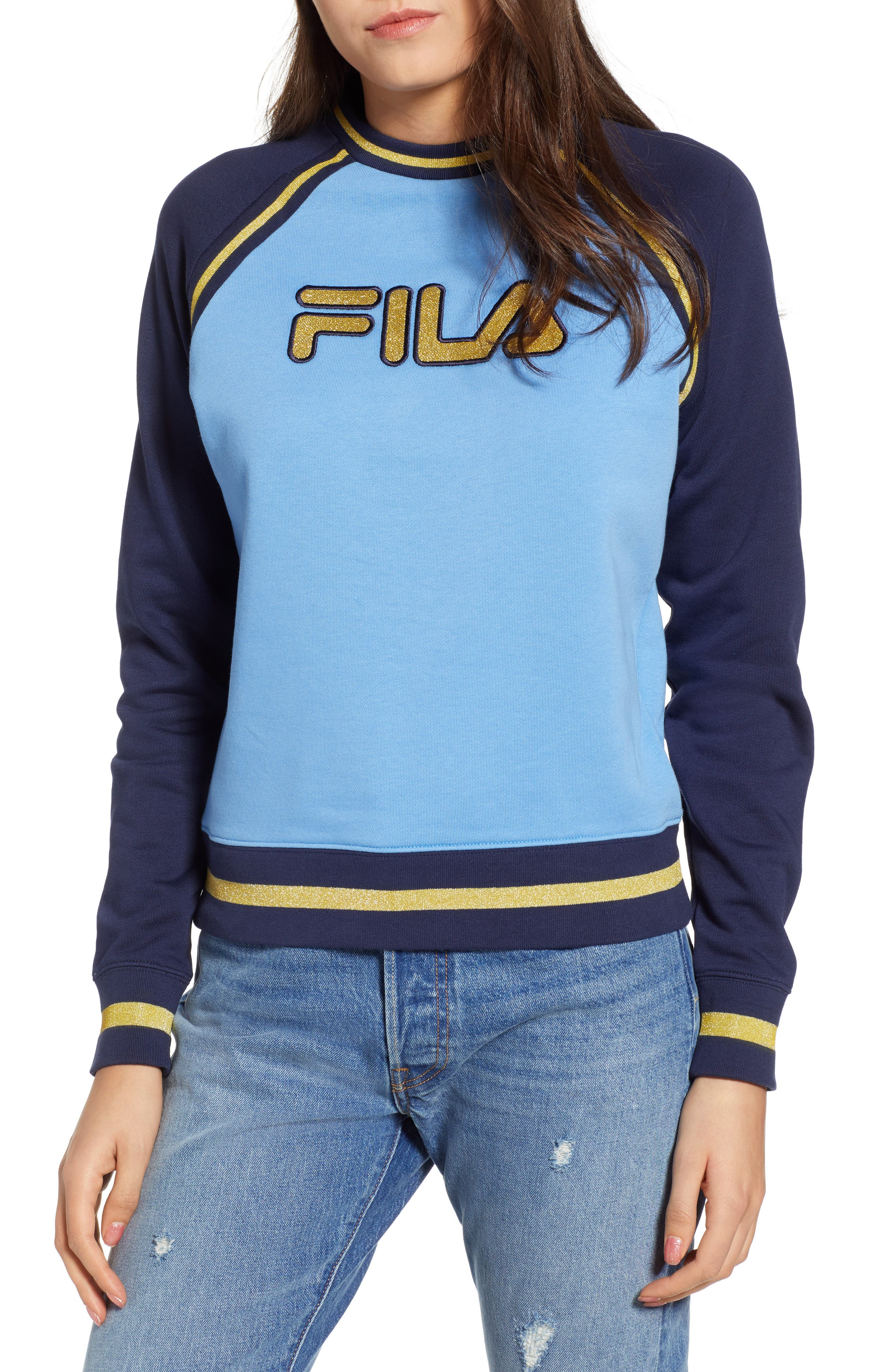 Rafaella Sweatshirt,                         Main,                         color, Lake Blue/ Peacoat