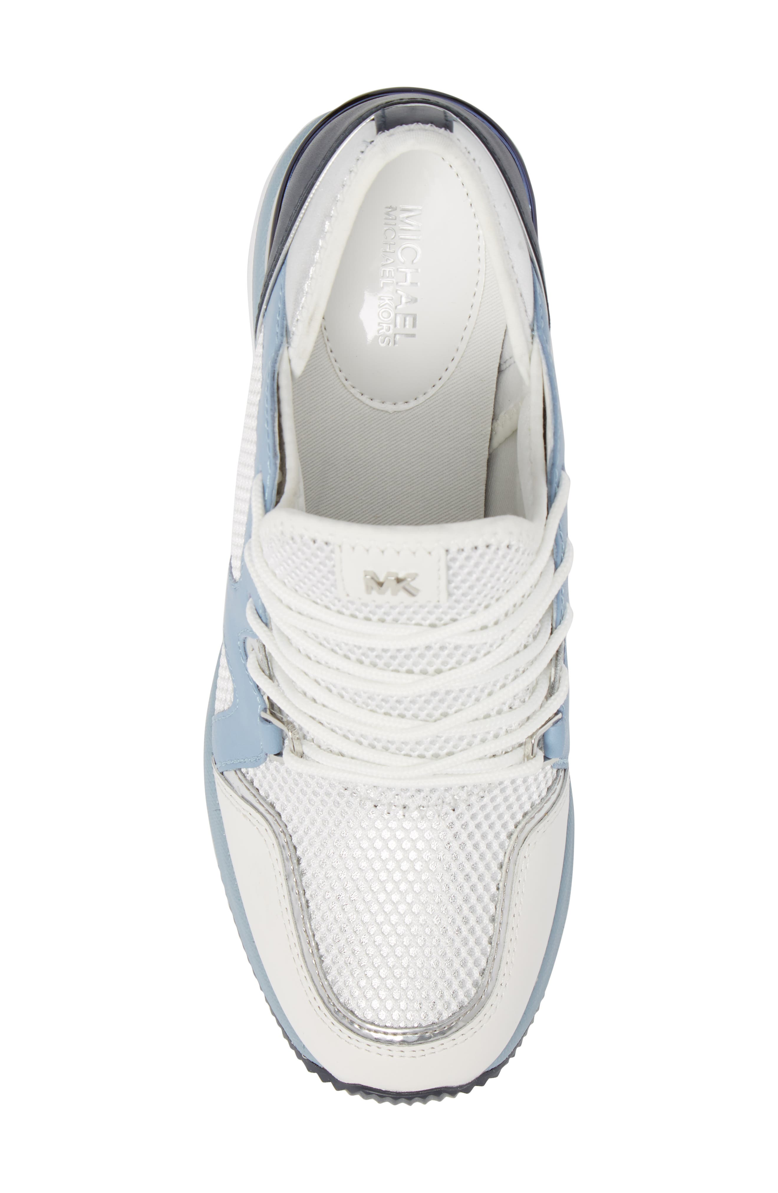 Scout Wedge Sneaker,                             Alternate thumbnail 6, color,                             Optic White/Blue