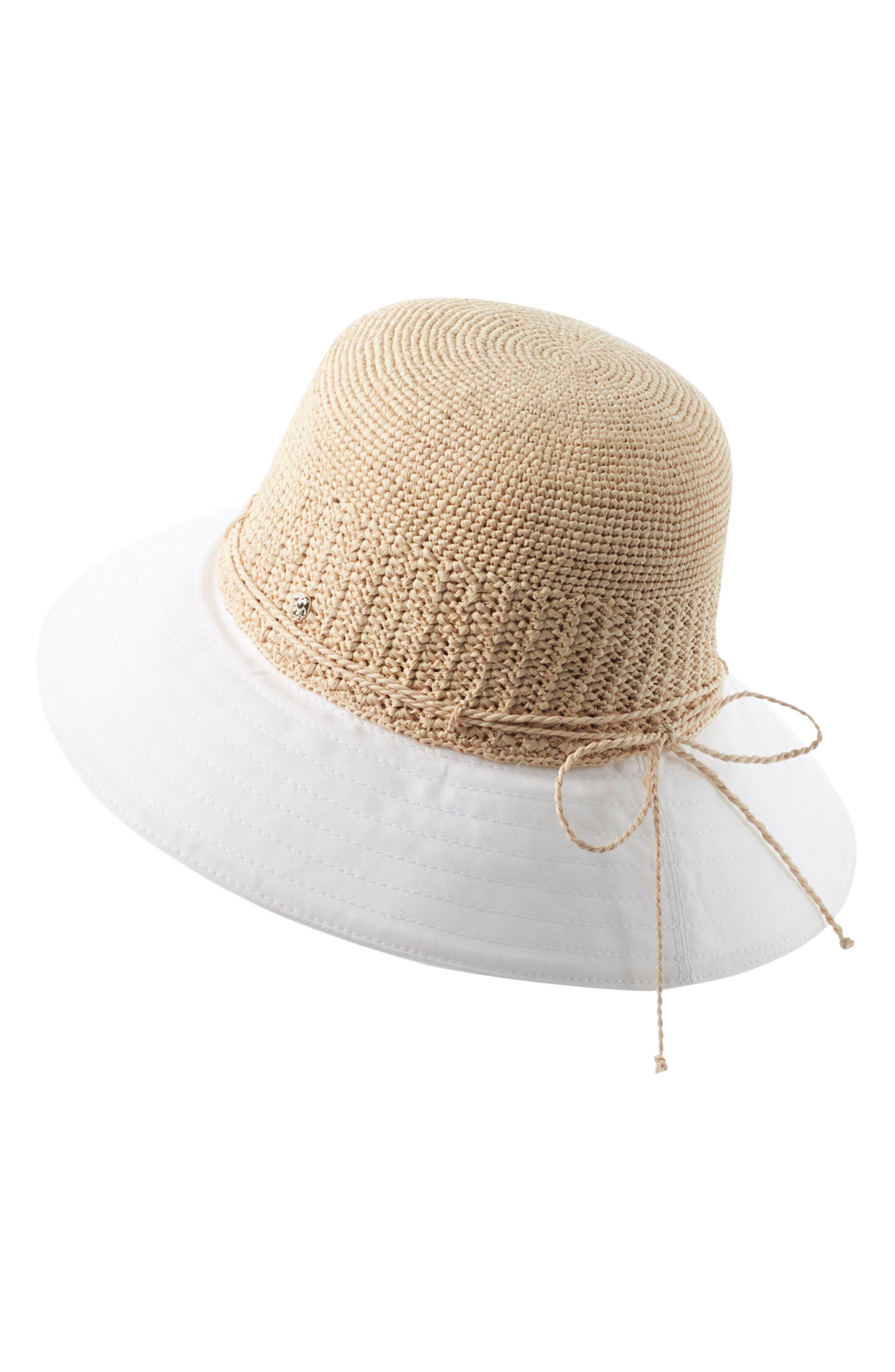 Cotton Brim Raffia Hat,                         Main,                         color, Natural/ White