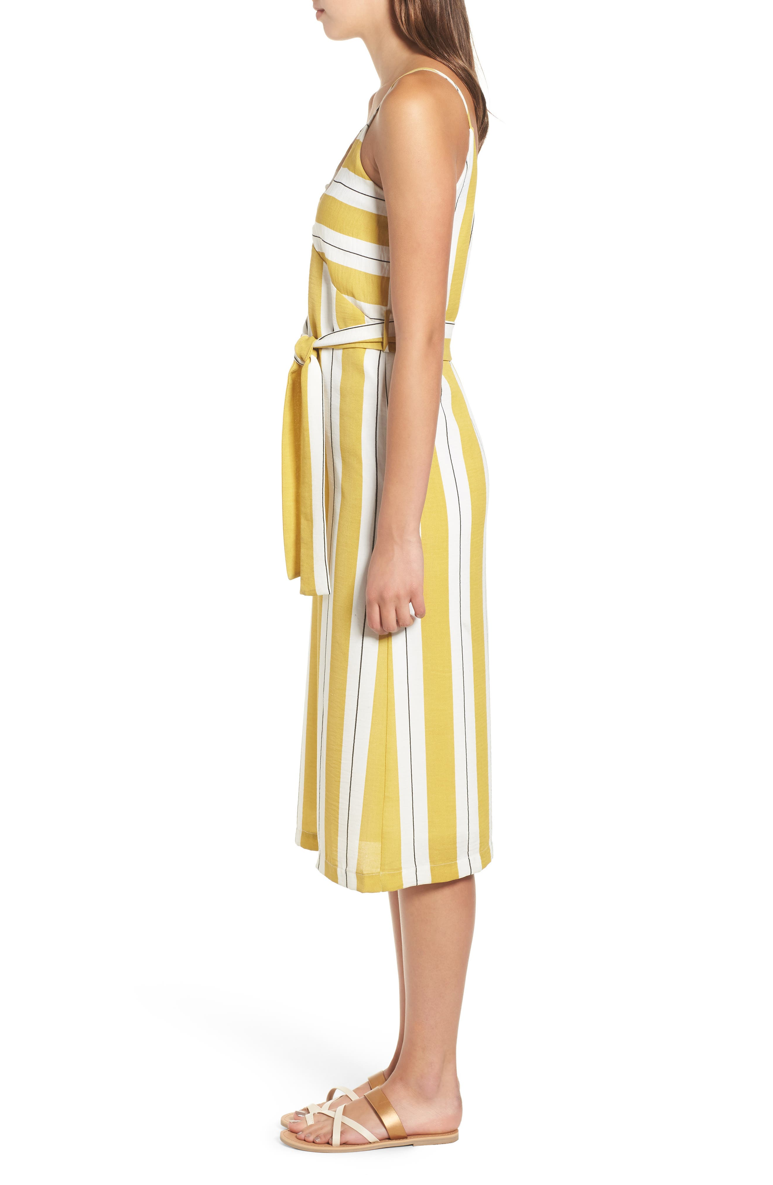 Stripe Midi Dress,                             Alternate thumbnail 6, color,                             Yellow Stripe Per Sample