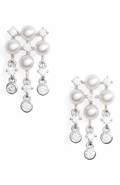 Mikimoto Akoya Cultured Pearl Diamond Earrings