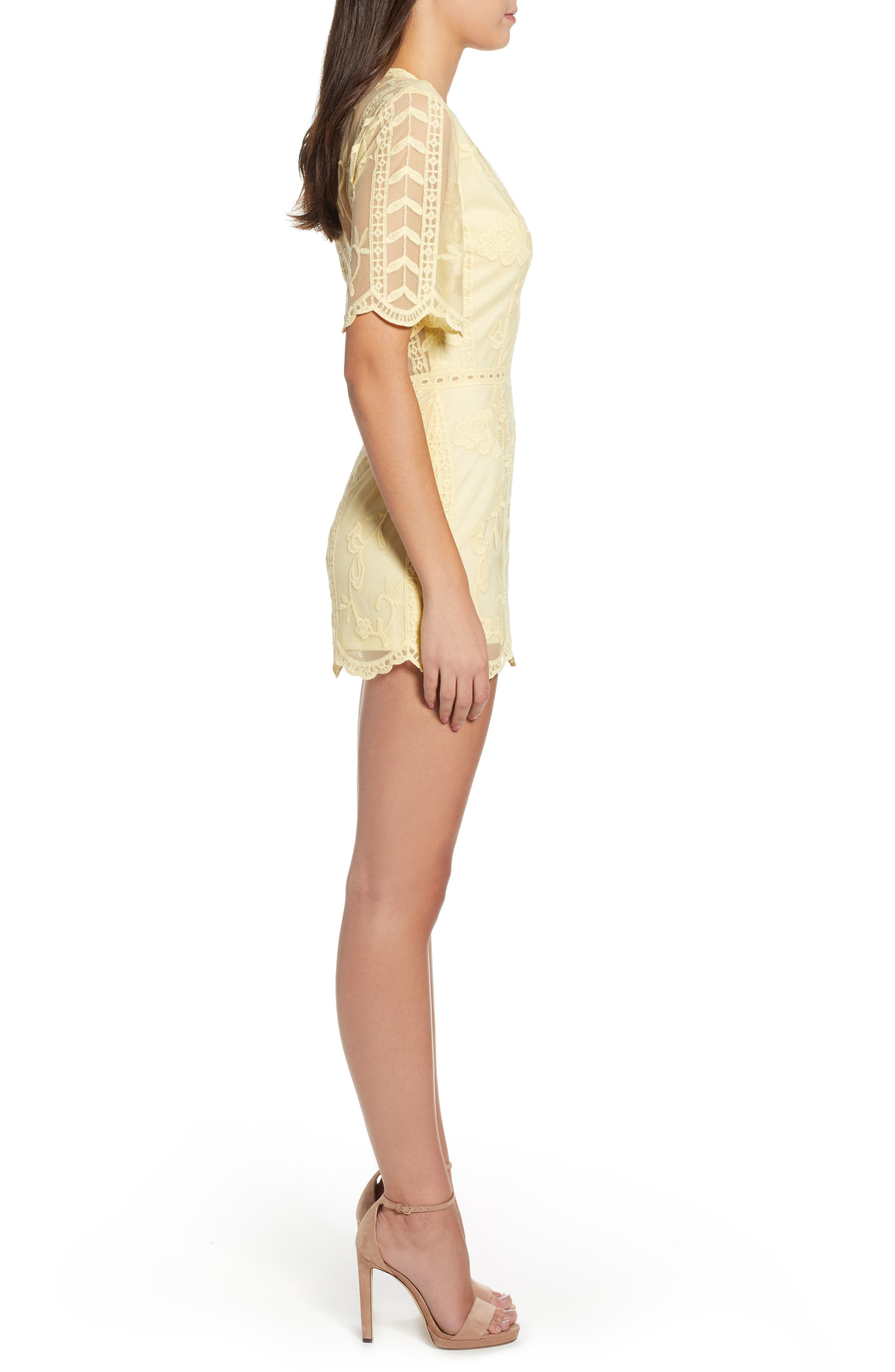 Plunging Lace Romper,                             Alternate thumbnail 3, color,                             Yellow Pastel