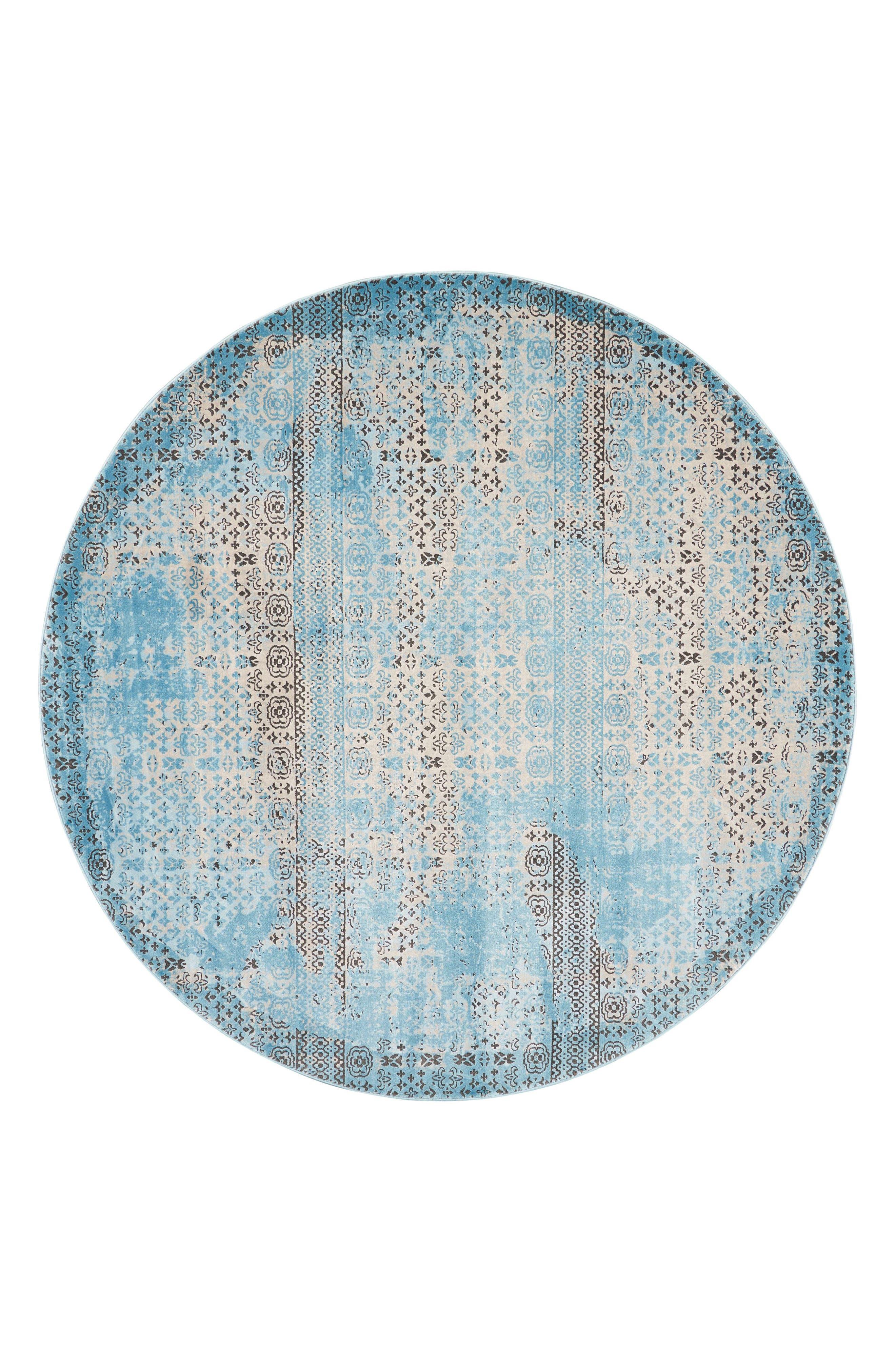 Karma Round Area Rug,                         Main,                         color, Blue