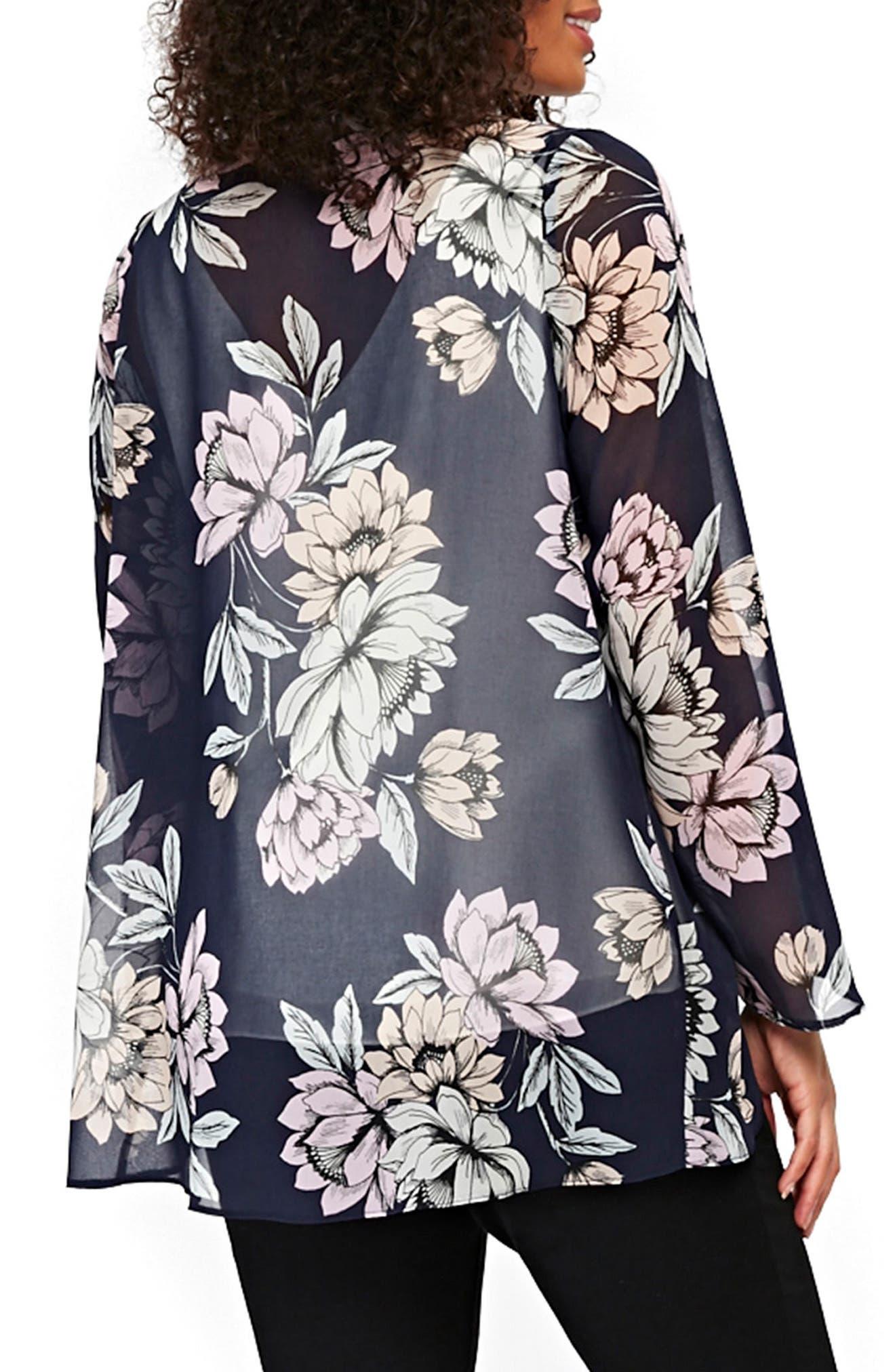 Floral Kimono Jacket,                             Alternate thumbnail 2, color,                             Navy