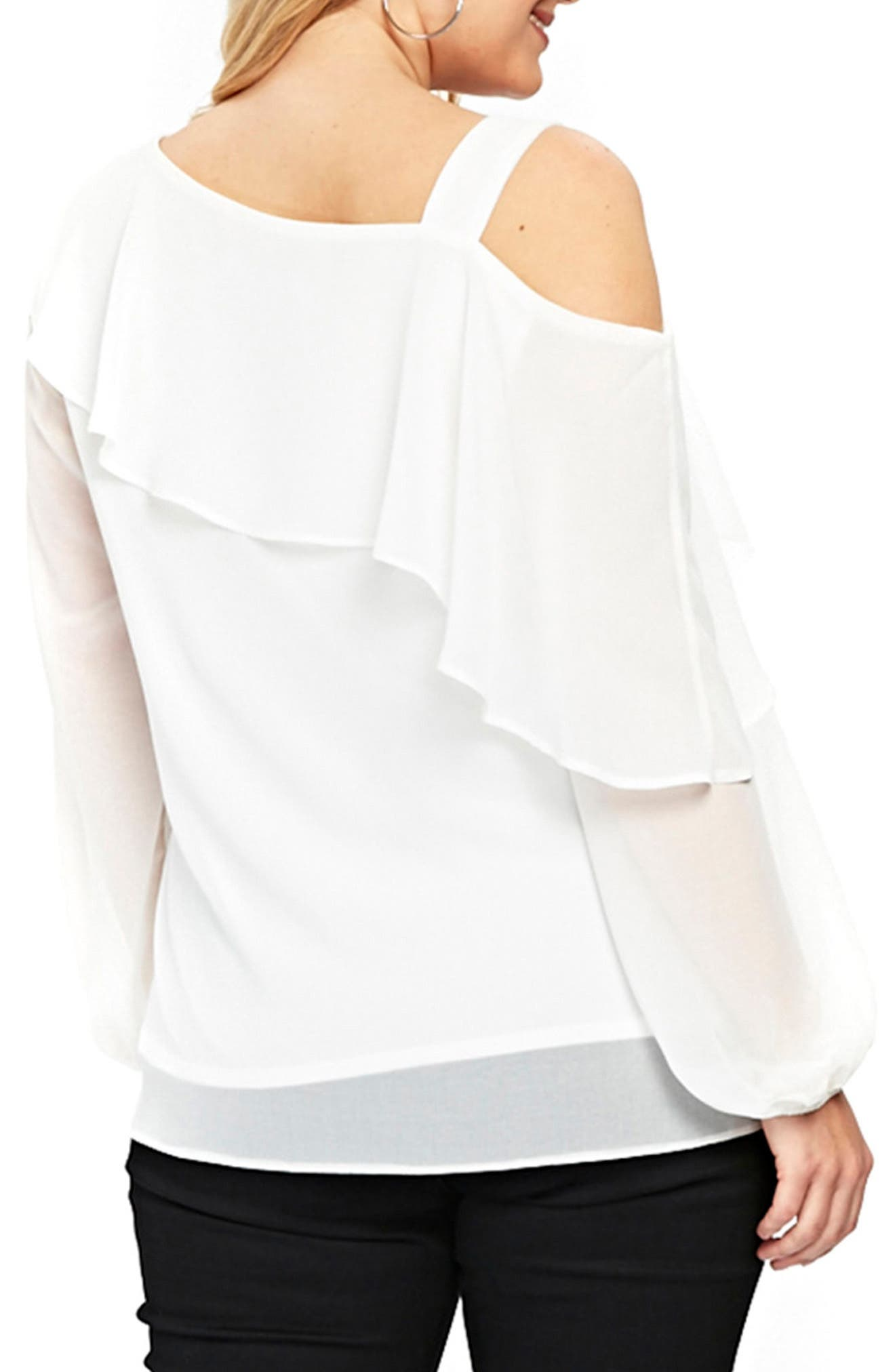 One-Shoulder Top,                             Alternate thumbnail 3, color,                             Ivory