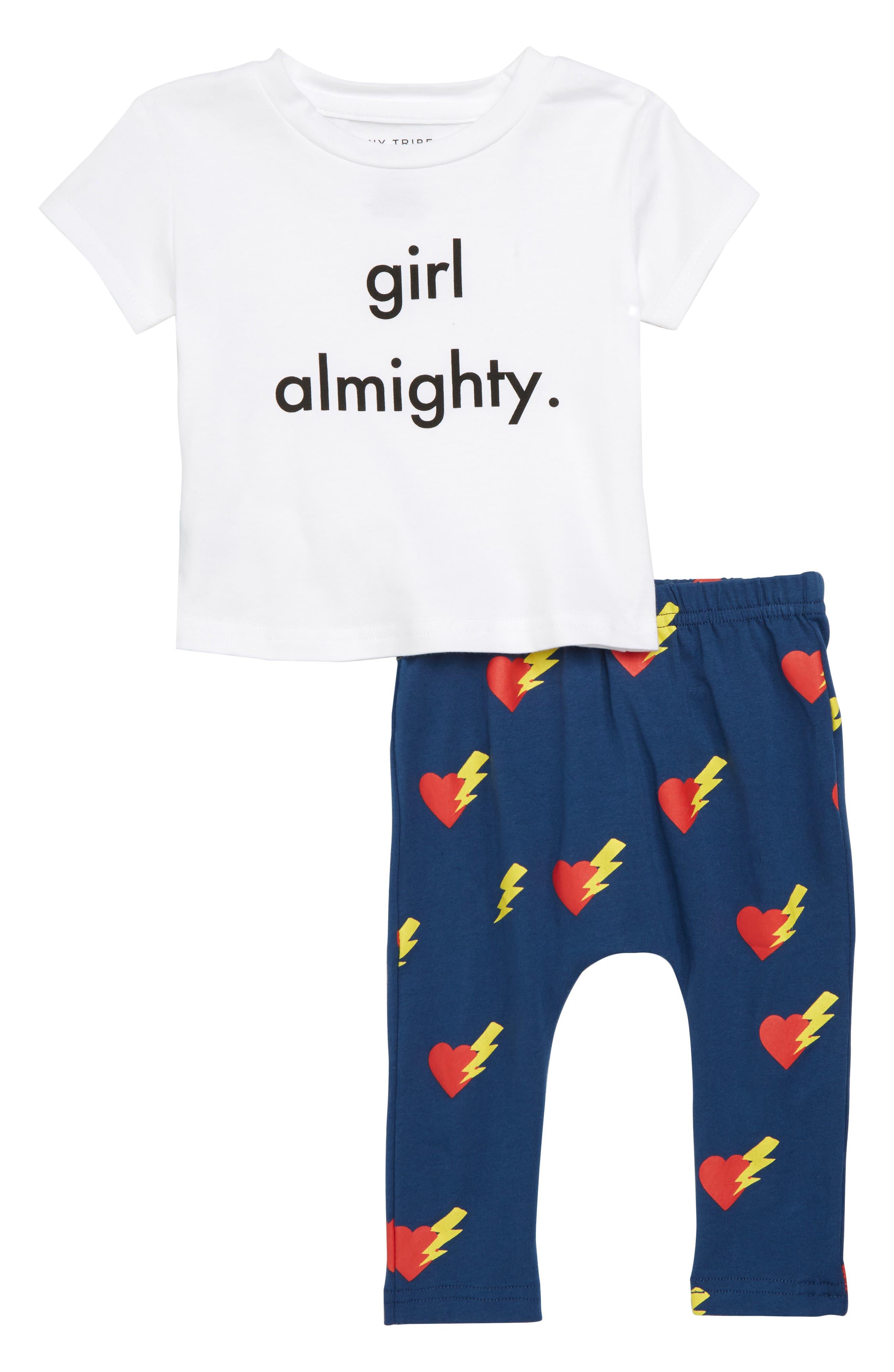Girls Almighty Tee & Leggings Set,                             Main thumbnail 1, color,                             White/ Navy
