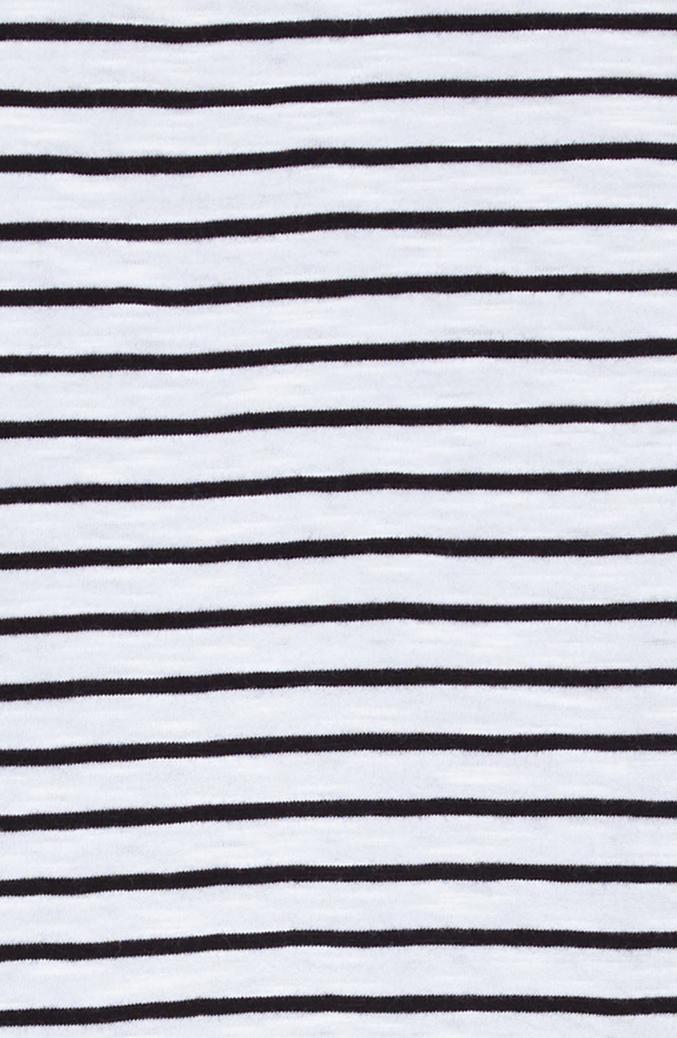 Stripe Tie Sleeve Dress,                             Alternate thumbnail 3, color,                             White- Black Stripe