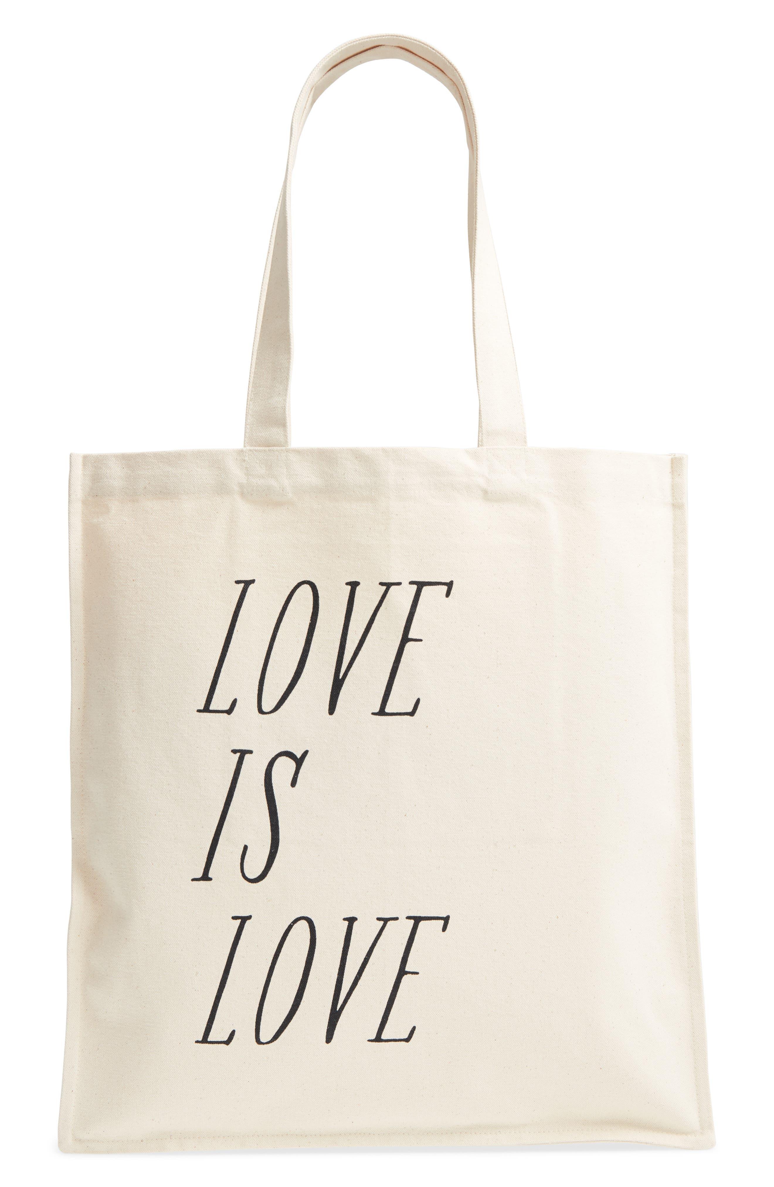 Love is Love Canvas Market Tote,                         Main,                         color, Black/ Oat