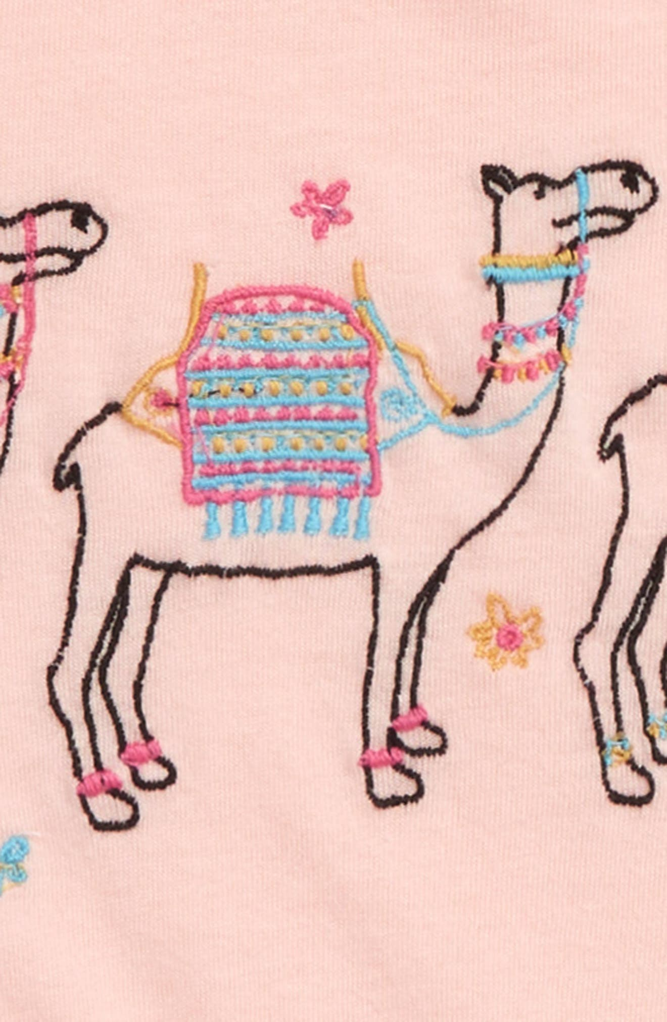 Embroidered Swing Tee,                             Alternate thumbnail 2, color,                             Pink Chintz Camels