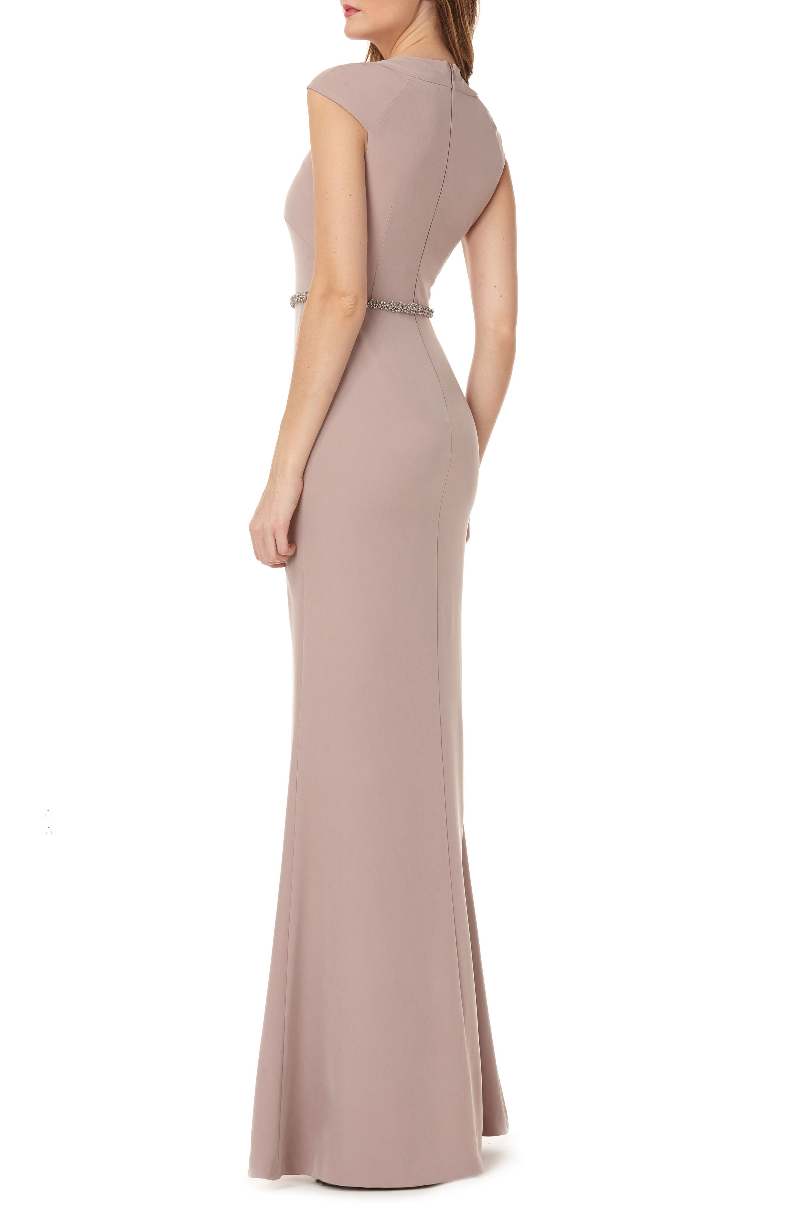 Cap Sleeve Stretch Crepe Gown,                             Alternate thumbnail 2, color,                             Taupe