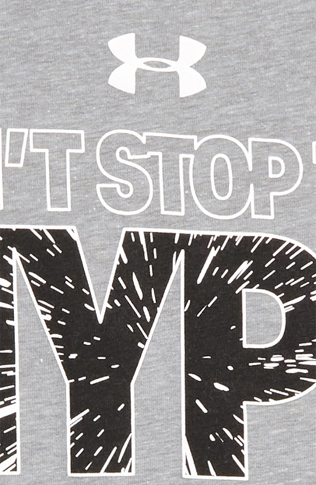 Can't Stop the Hype HeatGear<sup>®</sup> Graphic T-Shirt,                             Alternate thumbnail 2, color,                             Steel Light Heather/ Black