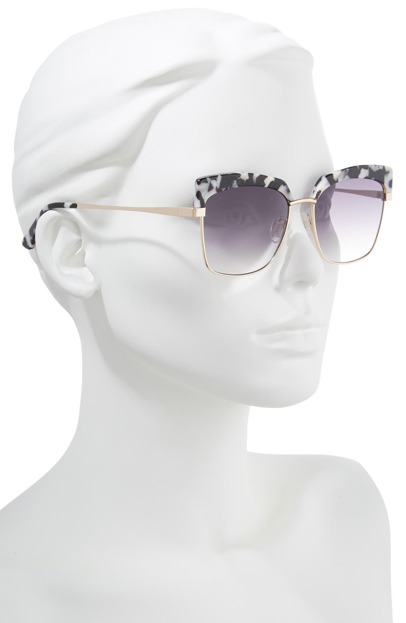 Isabella 56mm Cat Eye Sunglasses,                             Alternate thumbnail 2, color,                             Black Marble