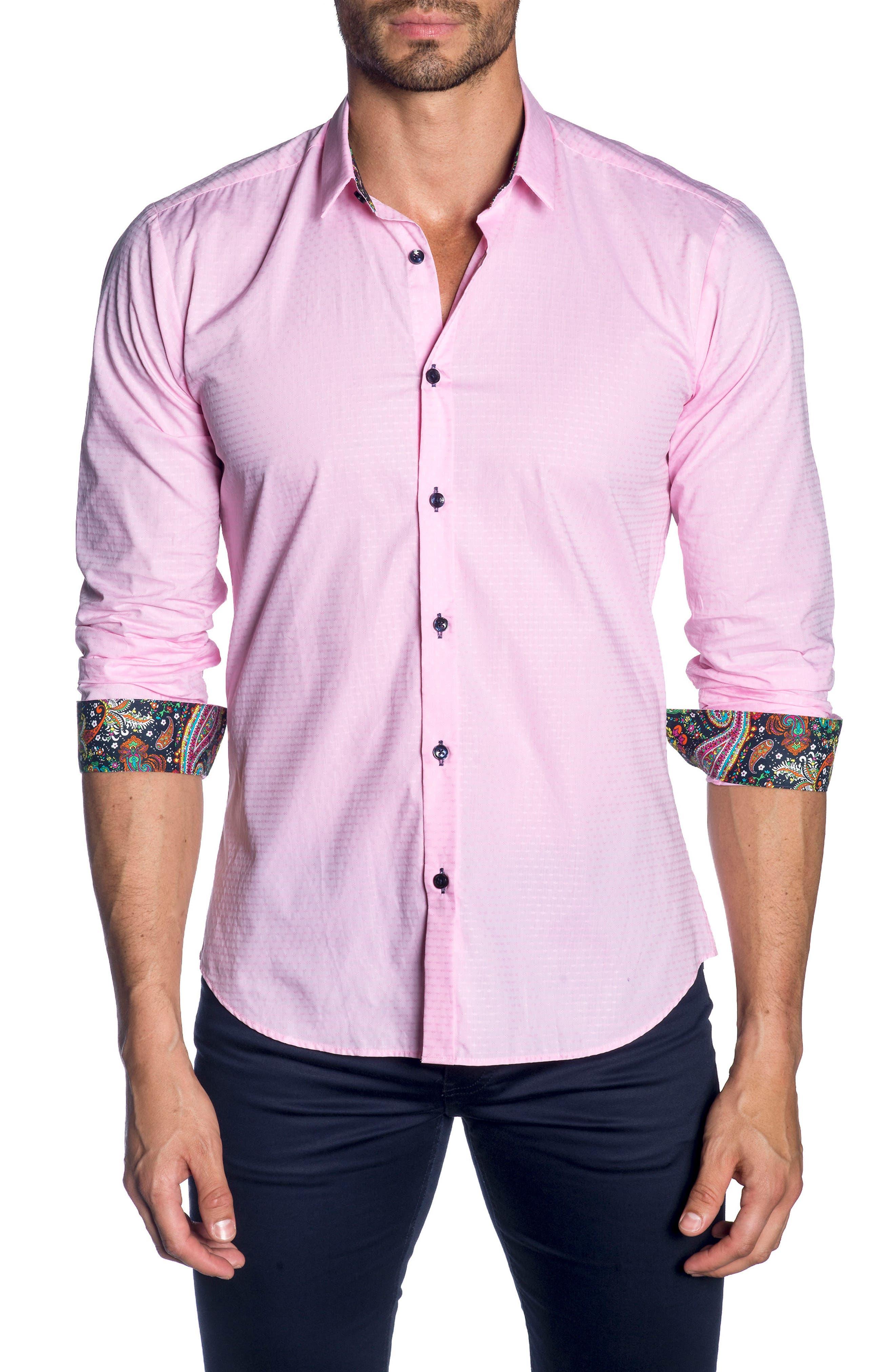 Trim Fit Sport Shirt,                             Main thumbnail 1, color,                             Pink