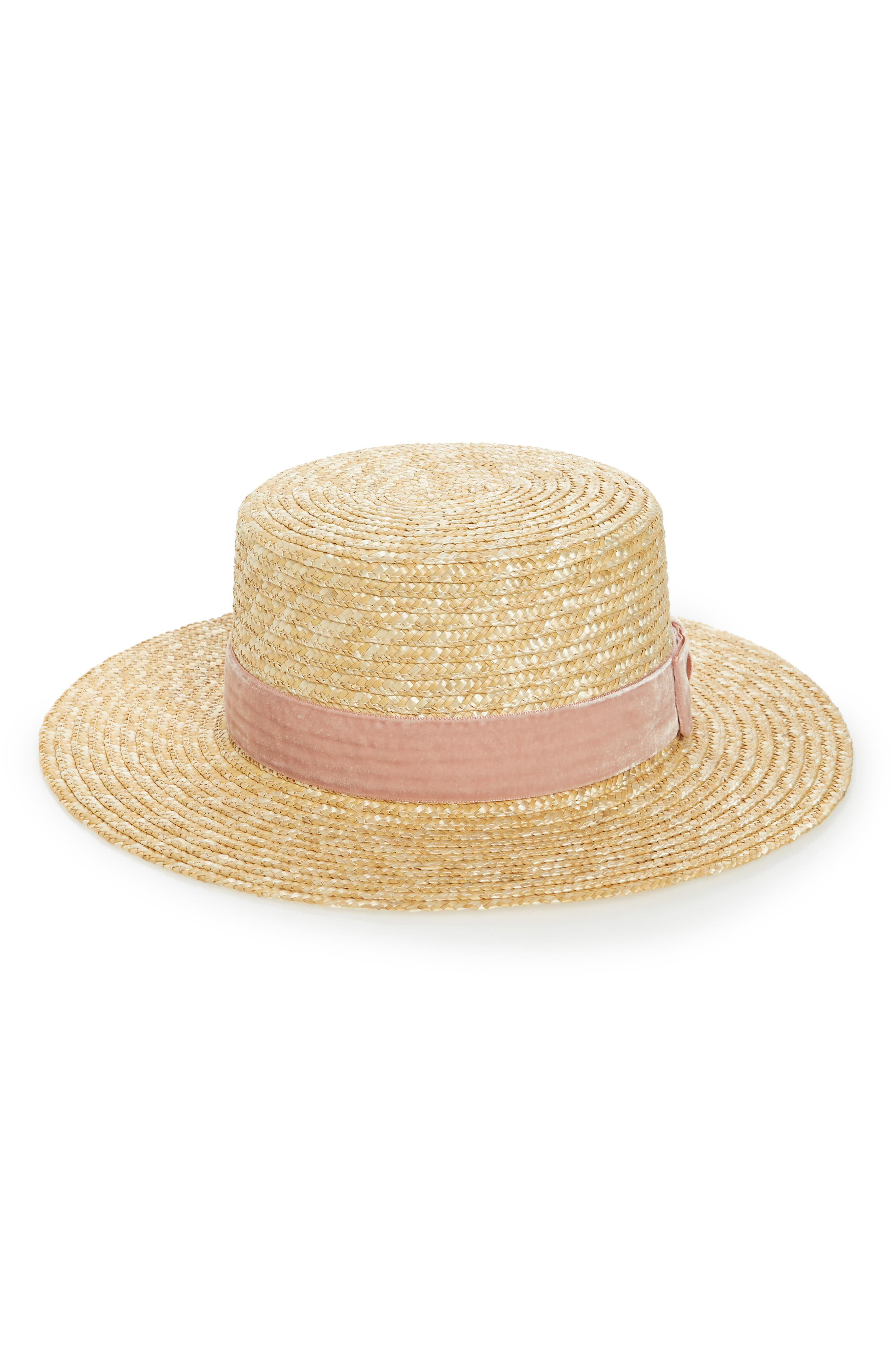 Pink Velour Straw Hat,                         Main,                         color, Pink/ Natural