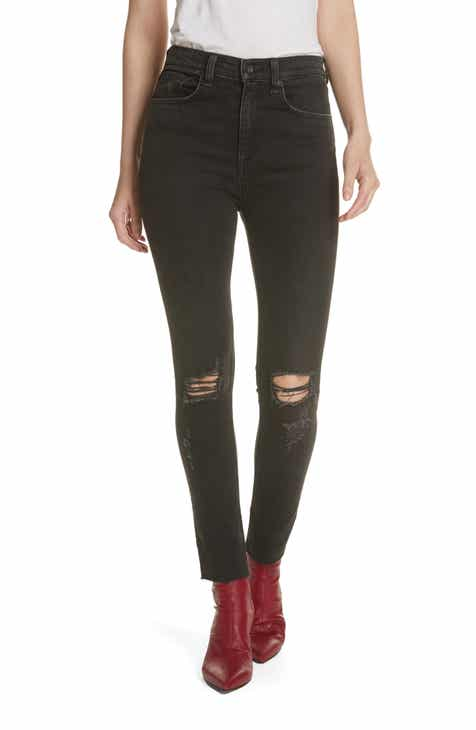 16144cb53bae2b rag & bone/JEAN Ripped High Waist Ankle Skinny Jeans (Rock with Holes)