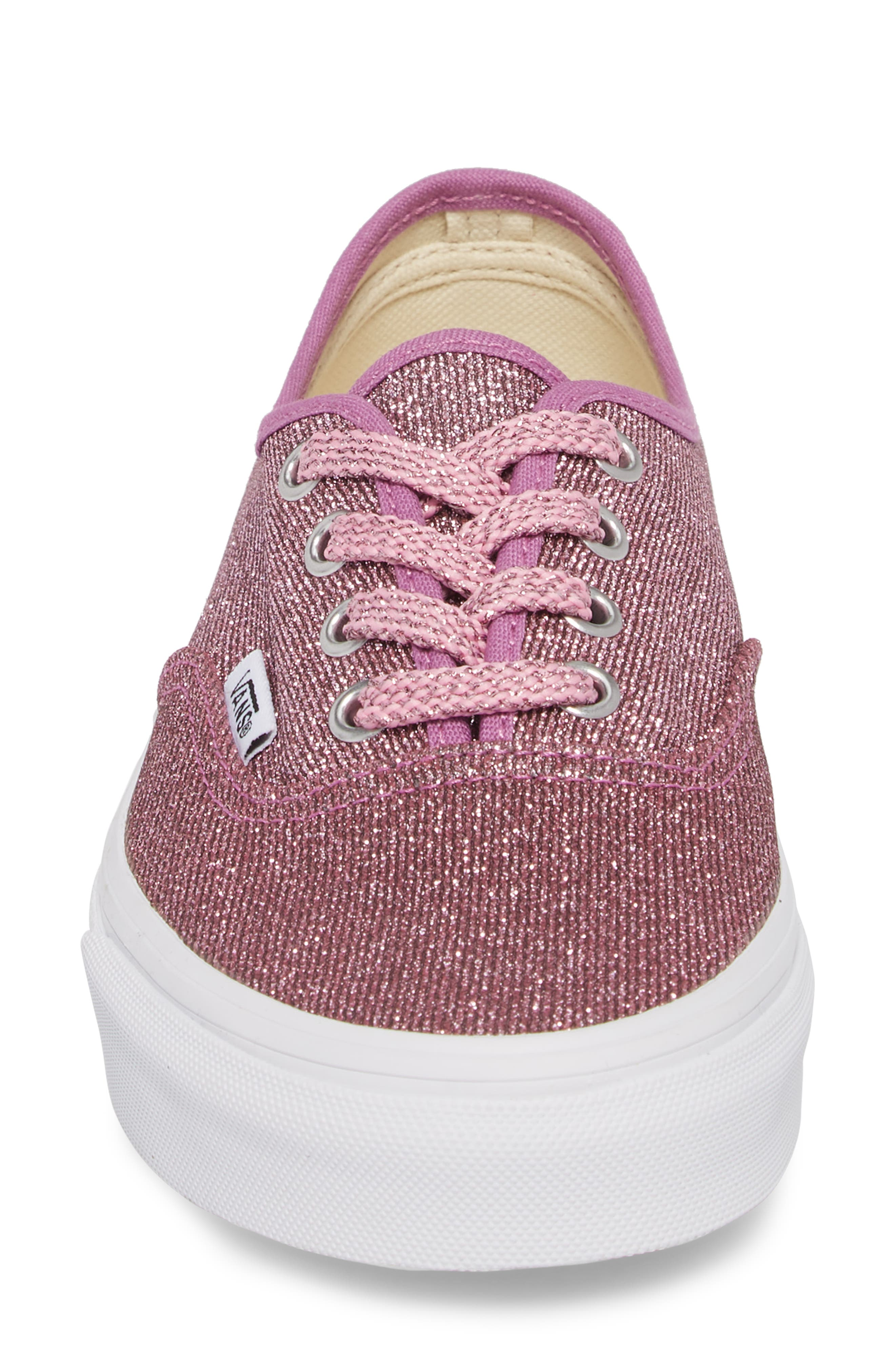 UA Authentic Lurex Sneaker,                             Alternate thumbnail 6, color,                             Pink/ True White Glitter