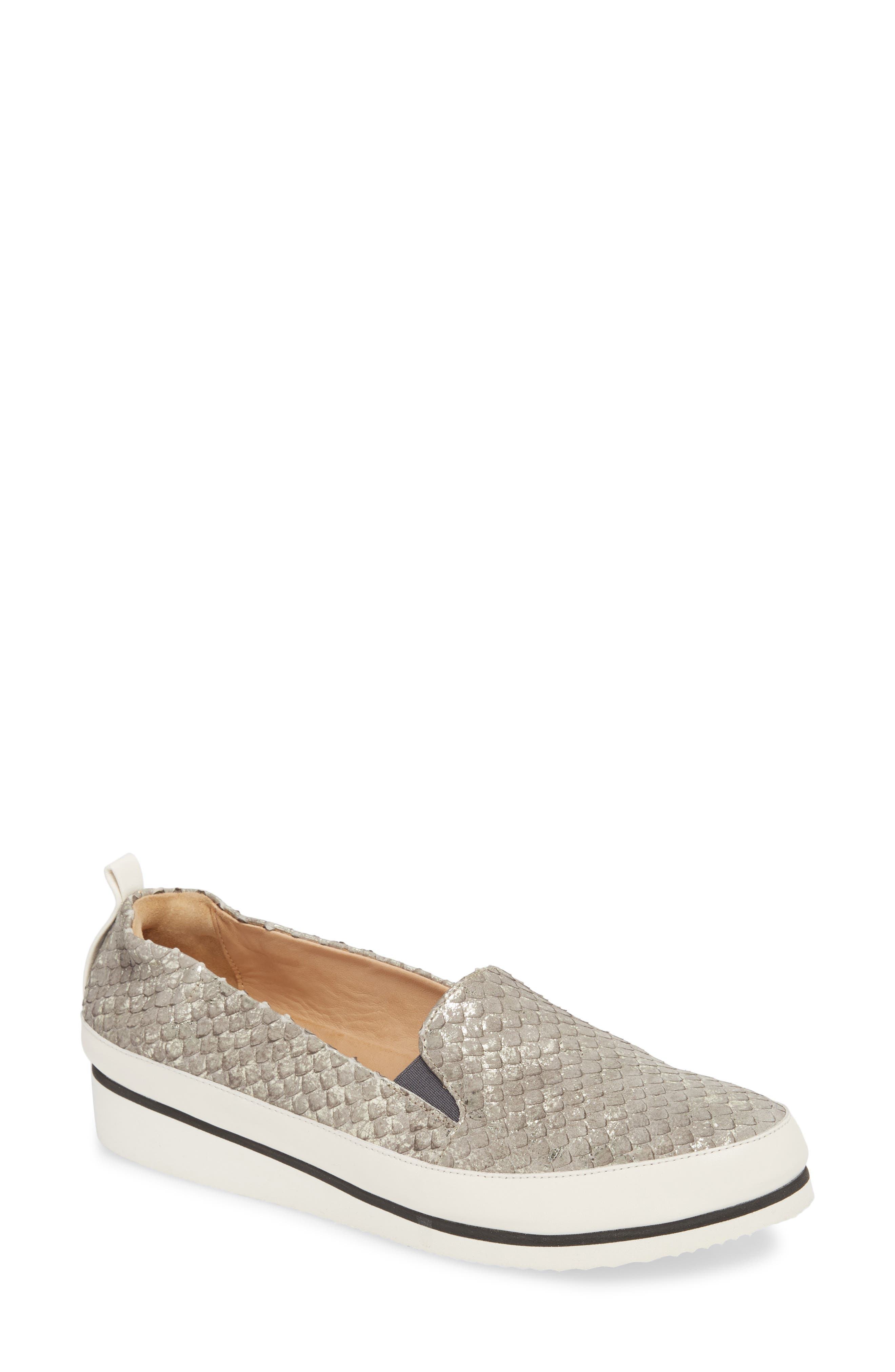 Nell Slip-On Sneaker,                             Main thumbnail 1, color,                             Pewter Leather