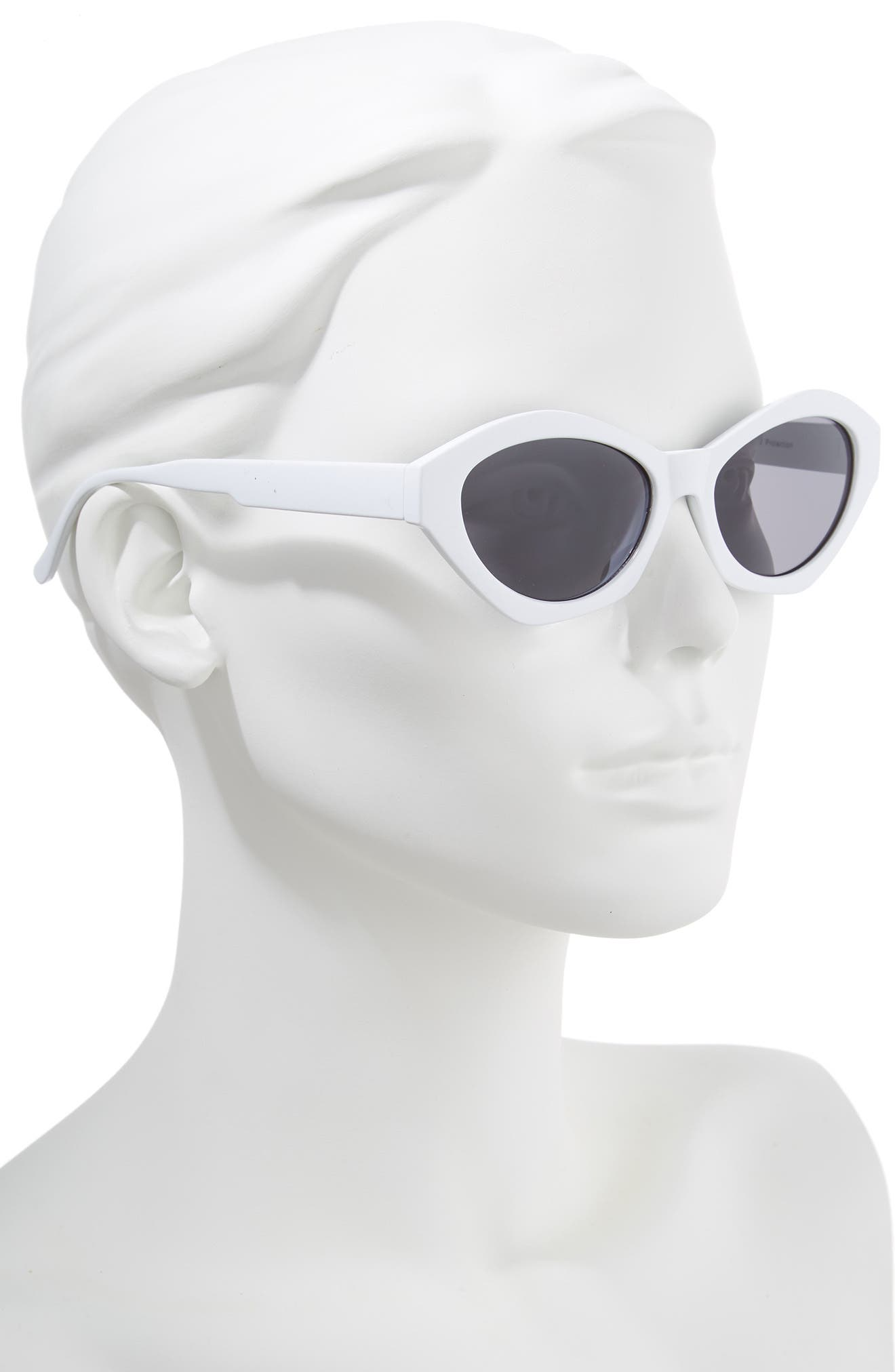 58mm Curved Cat Eye Sunglasses,                             Alternate thumbnail 2, color,                             White