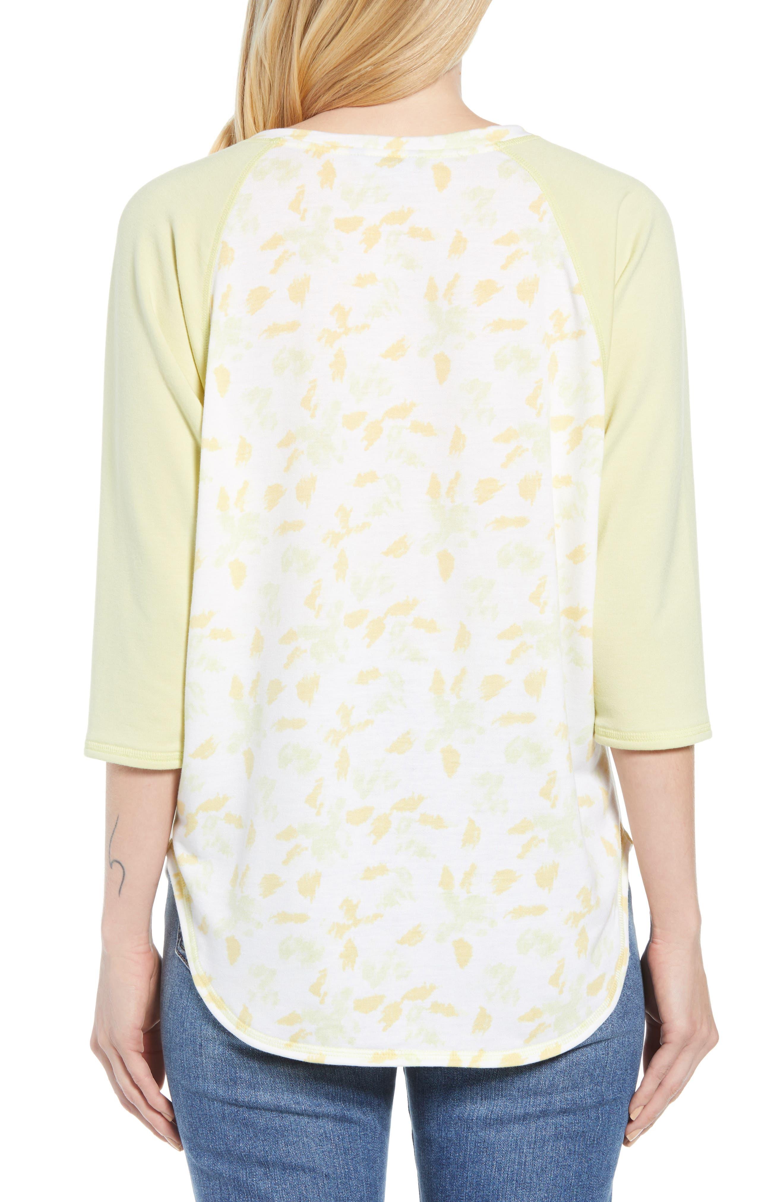 Off Duty Raglan Sleeve Sweatshirt,                             Alternate thumbnail 2, color,                             Ivory- Yellow Fleurs De Laine