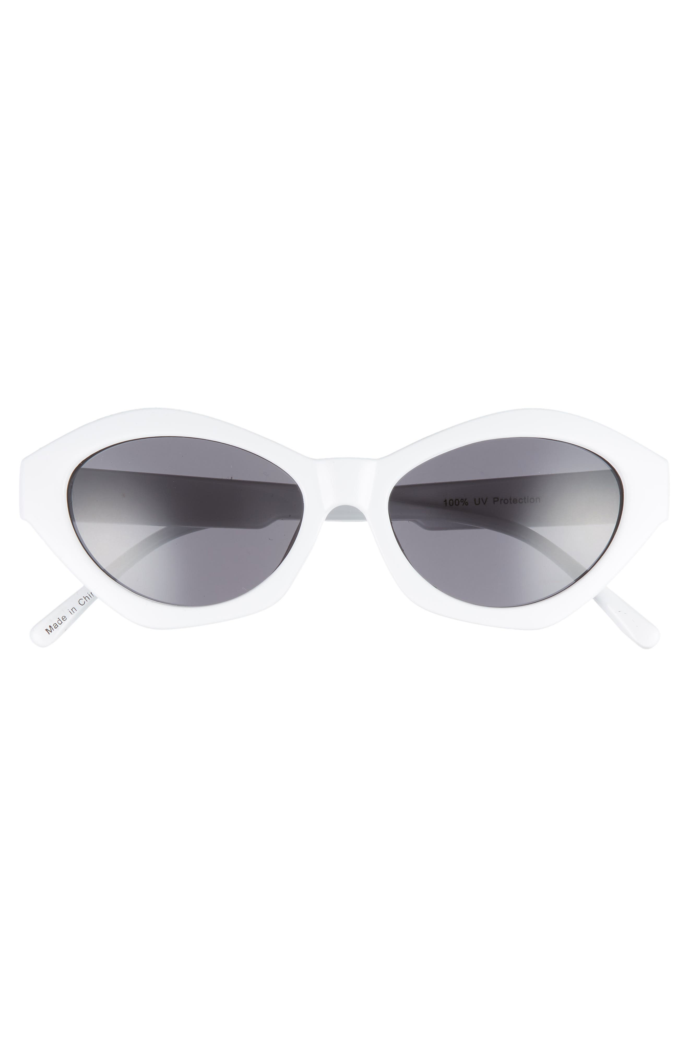 58mm Curved Cat Eye Sunglasses,                             Alternate thumbnail 3, color,                             White