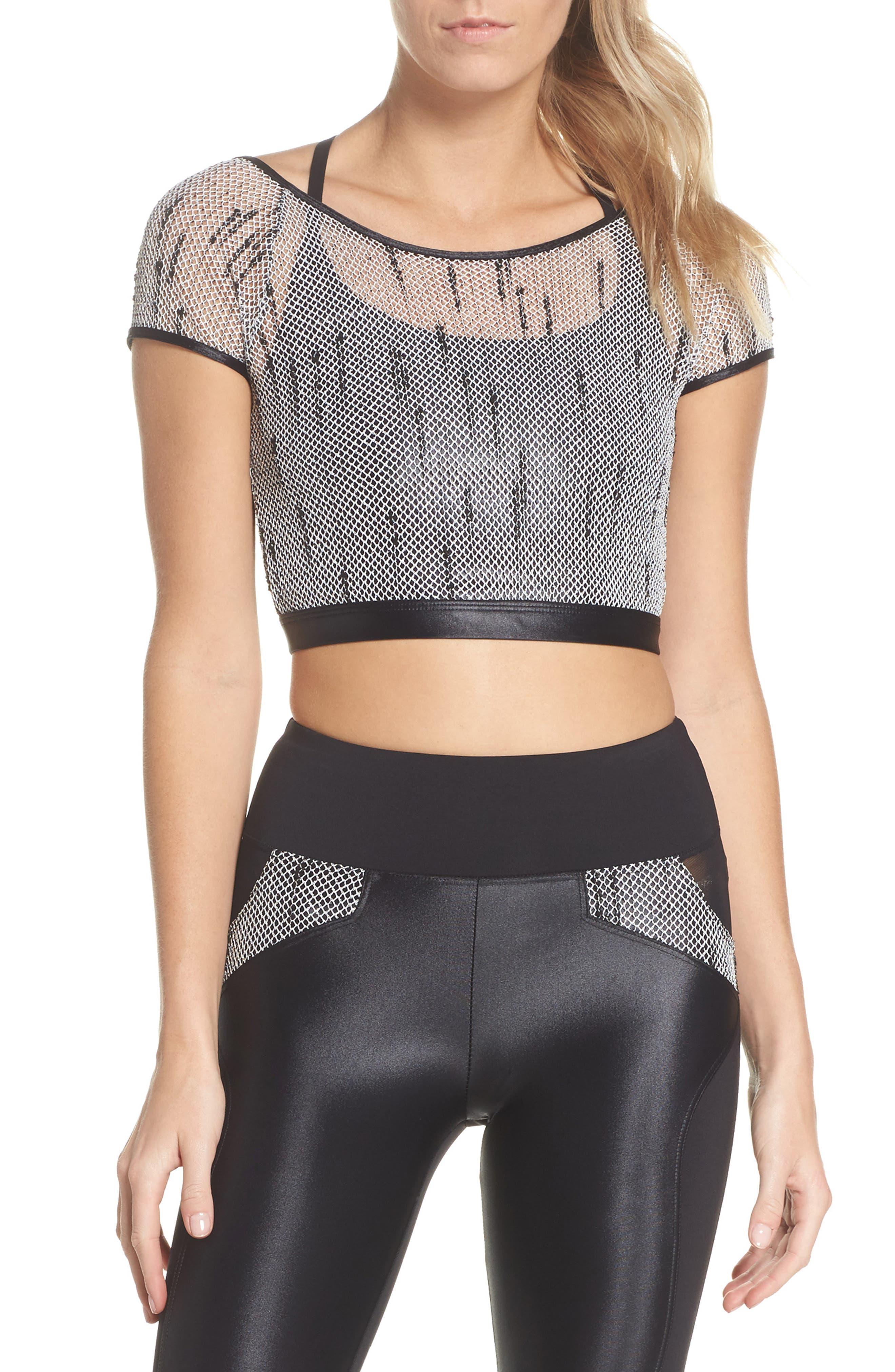 Combination Sports Bra,                         Main,                         color, Black/ Weave