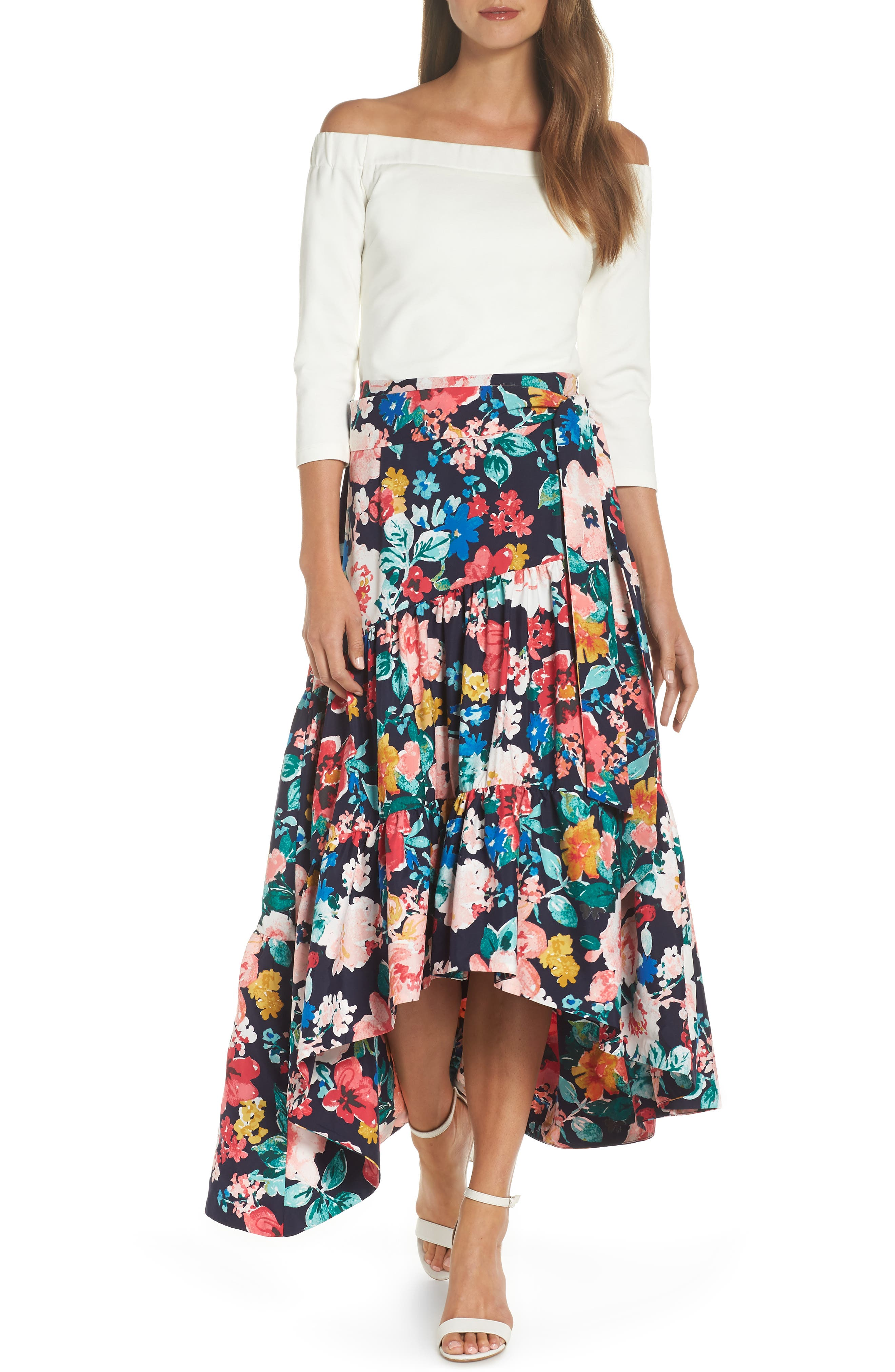 High/Low Tiered Skirt,                             Alternate thumbnail 7, color,                             Navy
