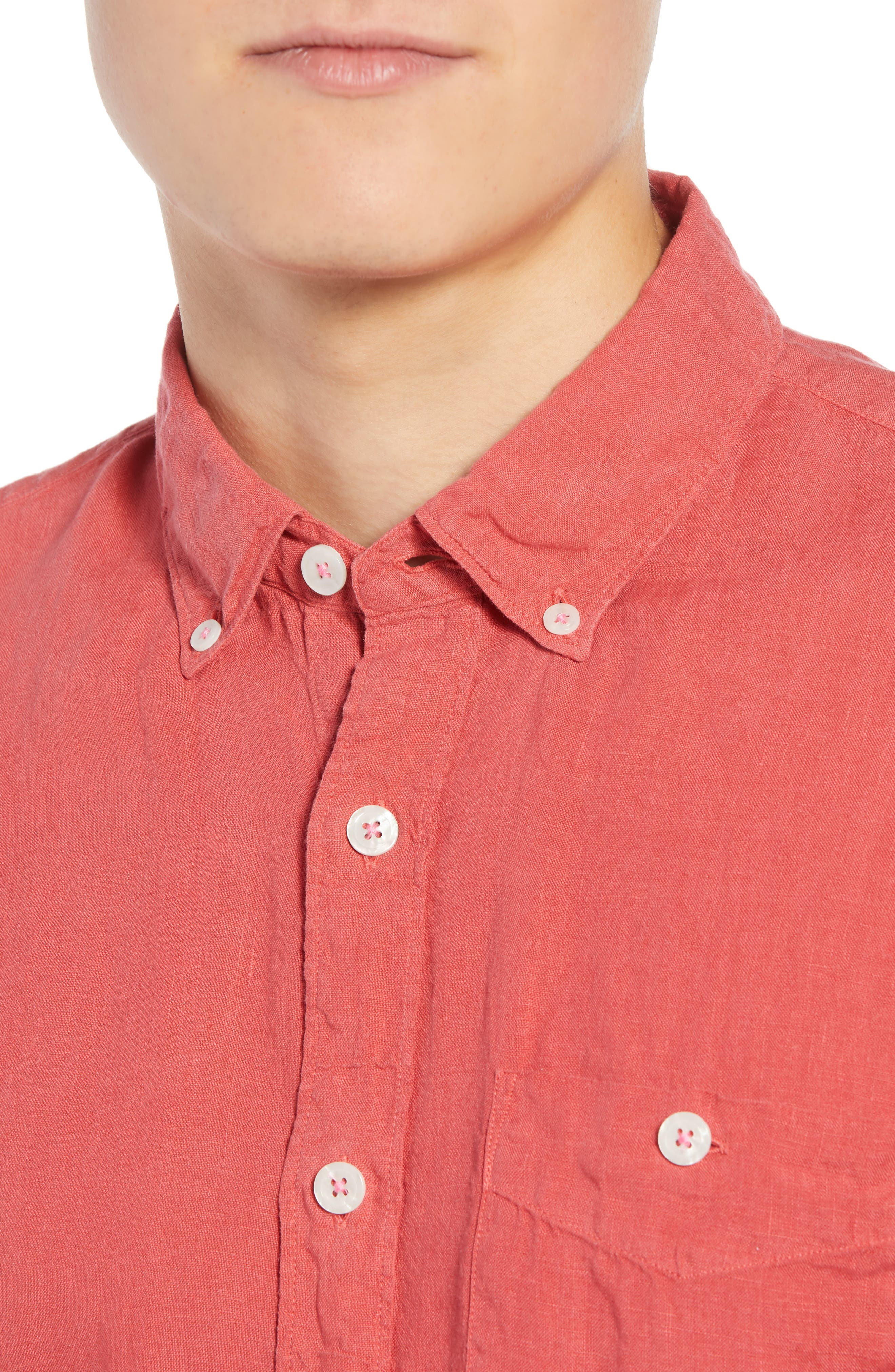 Regular Fit Linen Sport Shirt,                             Alternate thumbnail 2, color,                             Bowery Red