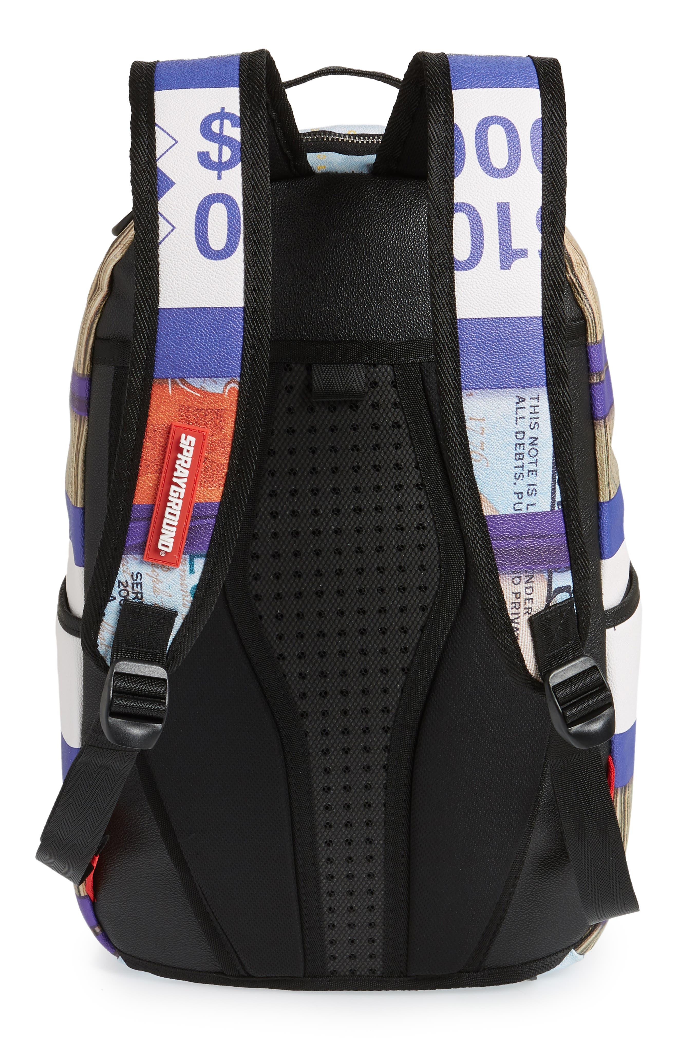 Purple Money Stacks Backpack,                             Alternate thumbnail 3, color,                             Purple