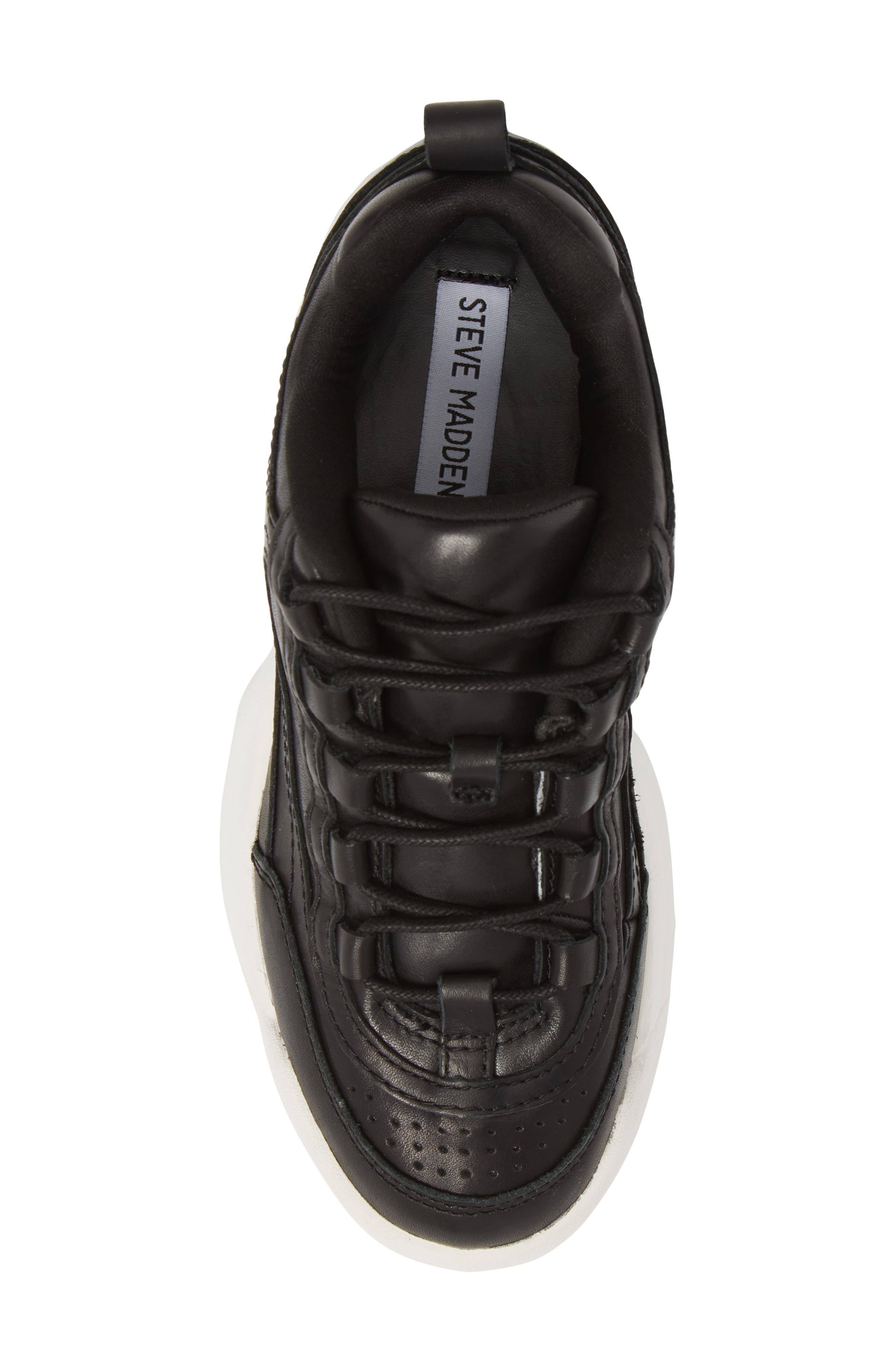 Sidekick Platform Sneaker,                             Alternate thumbnail 5, color,                             Black Leather