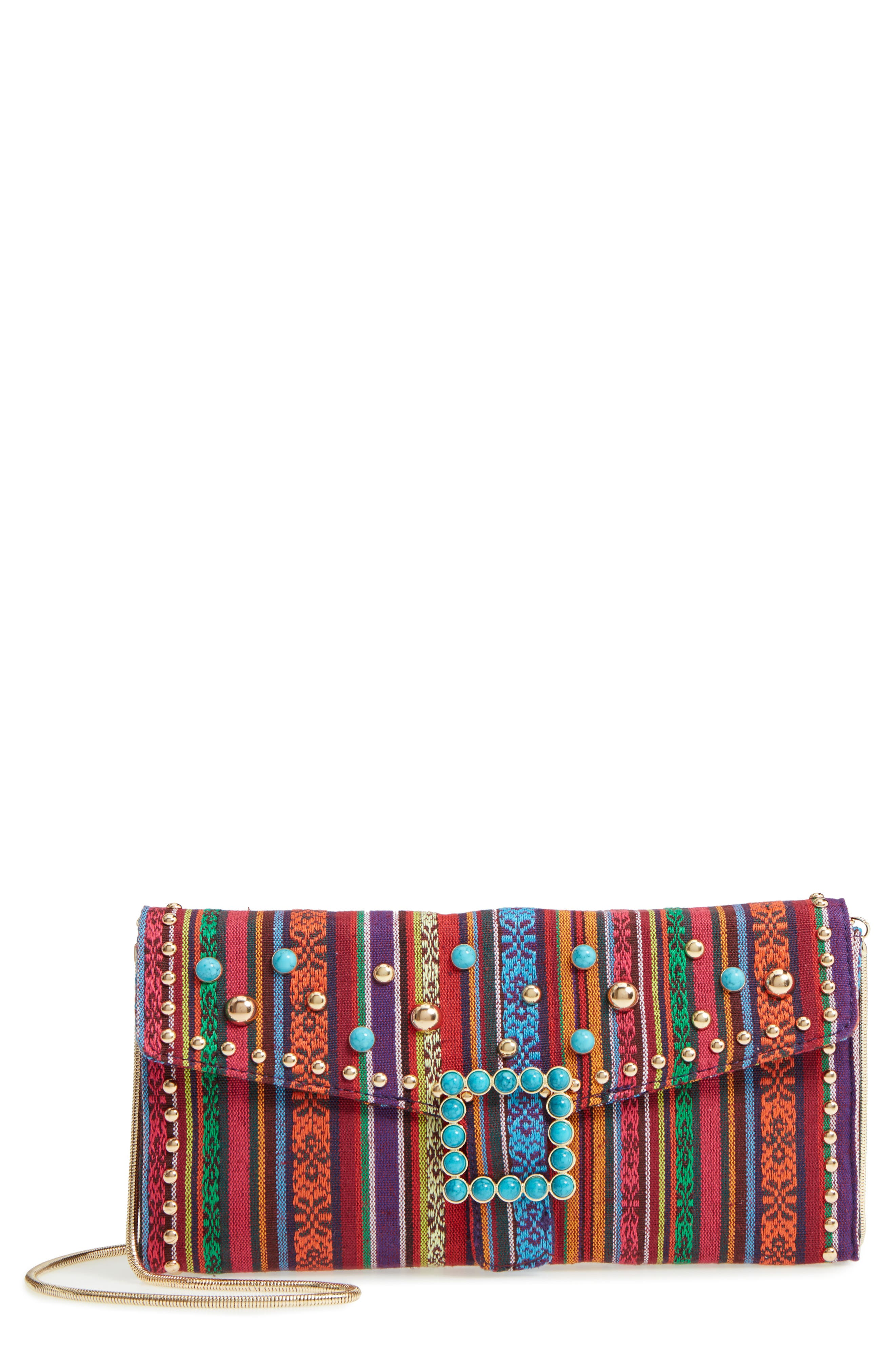 Jacquard Clutch,                             Main thumbnail 1, color,                             Red