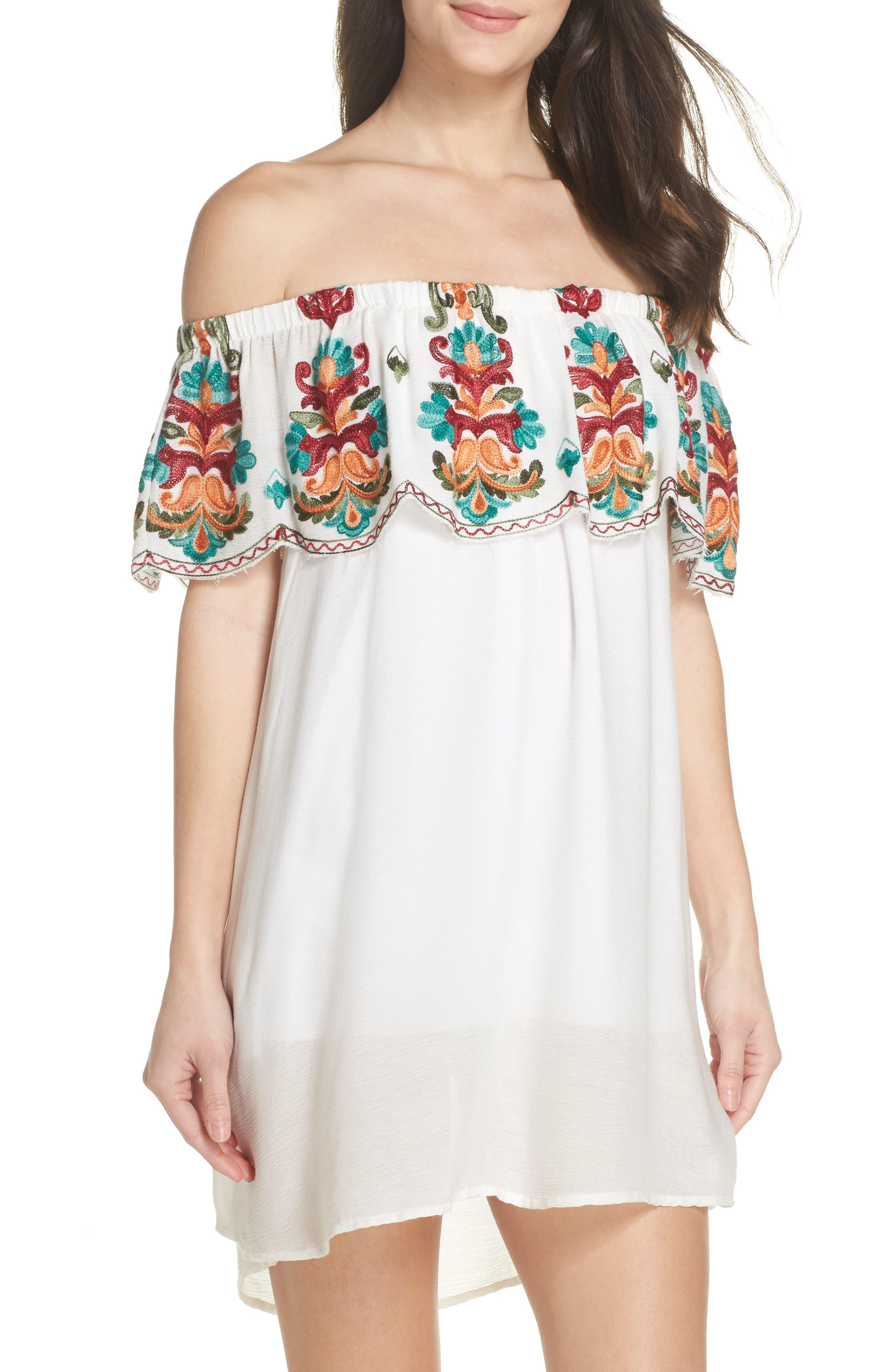 Denim Fiesta Off the Shoulder Cover-Up Dress,                         Main,                         color, White