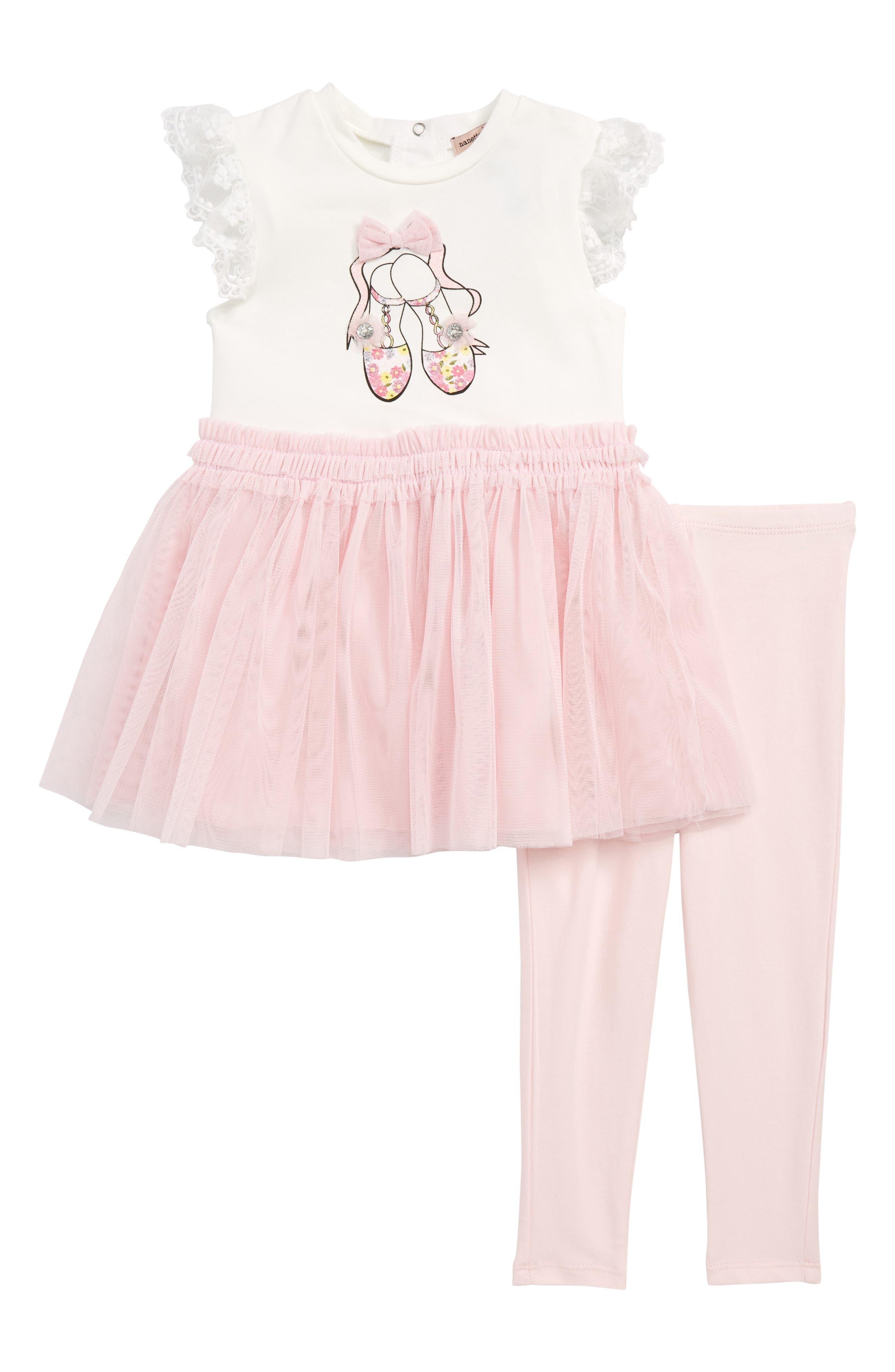 Ballet Slipper Dress & Leggings Set,                         Main,                         color, Off White