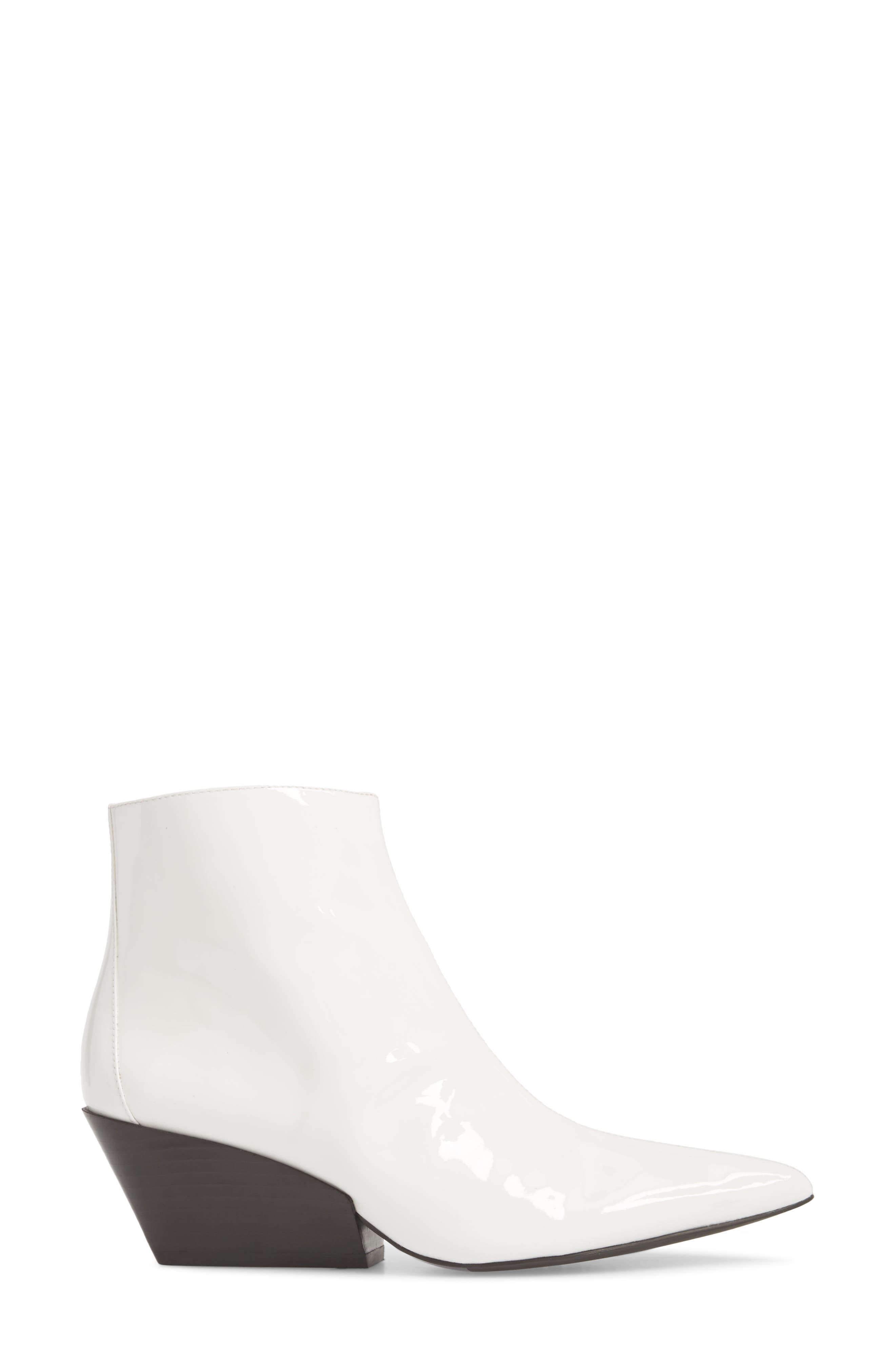 Freda Pointy Toe Bootie,                             Alternate thumbnail 4, color,                             White Patent