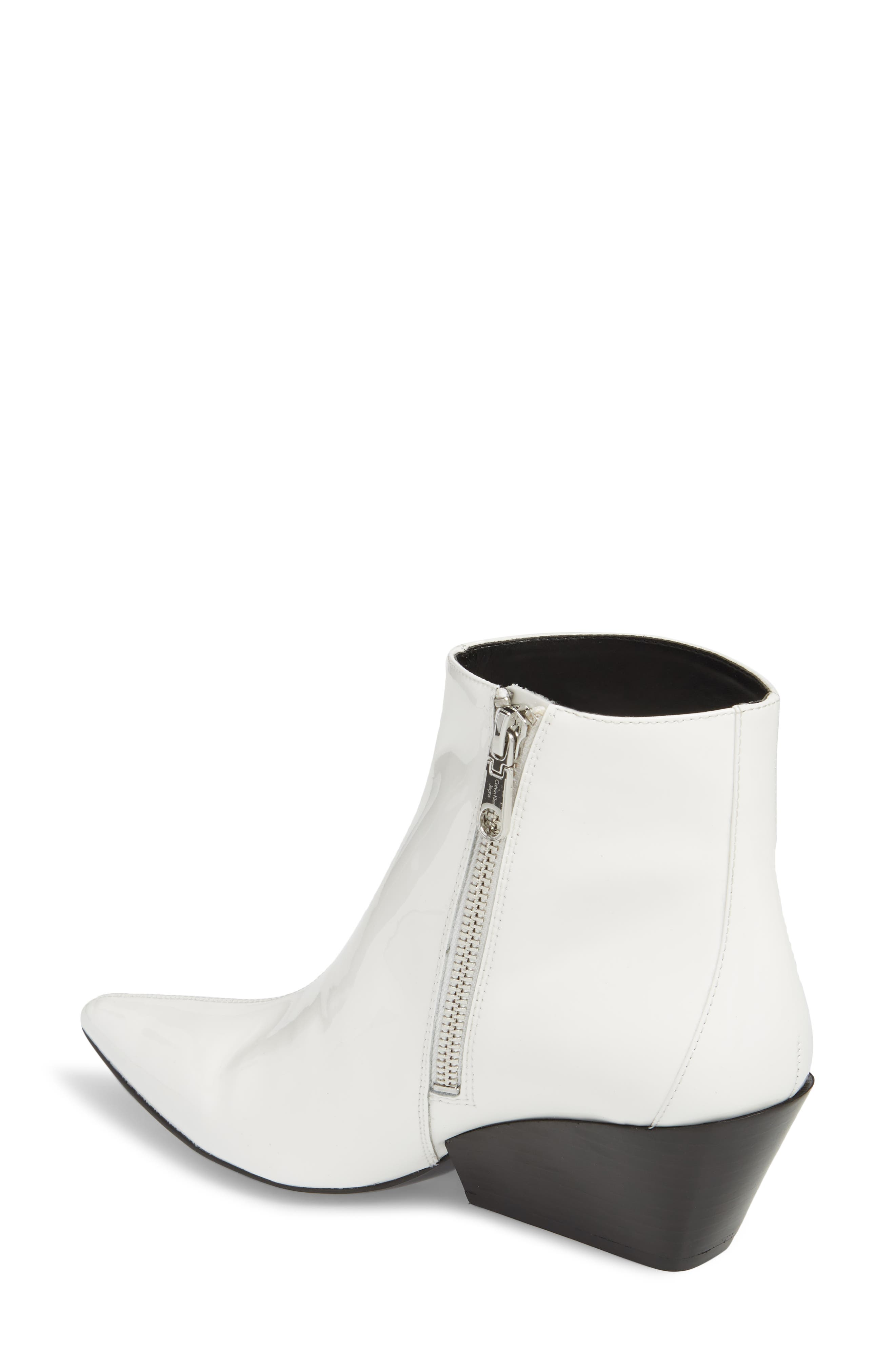 Freda Pointy Toe Bootie,                             Alternate thumbnail 2, color,                             White Patent
