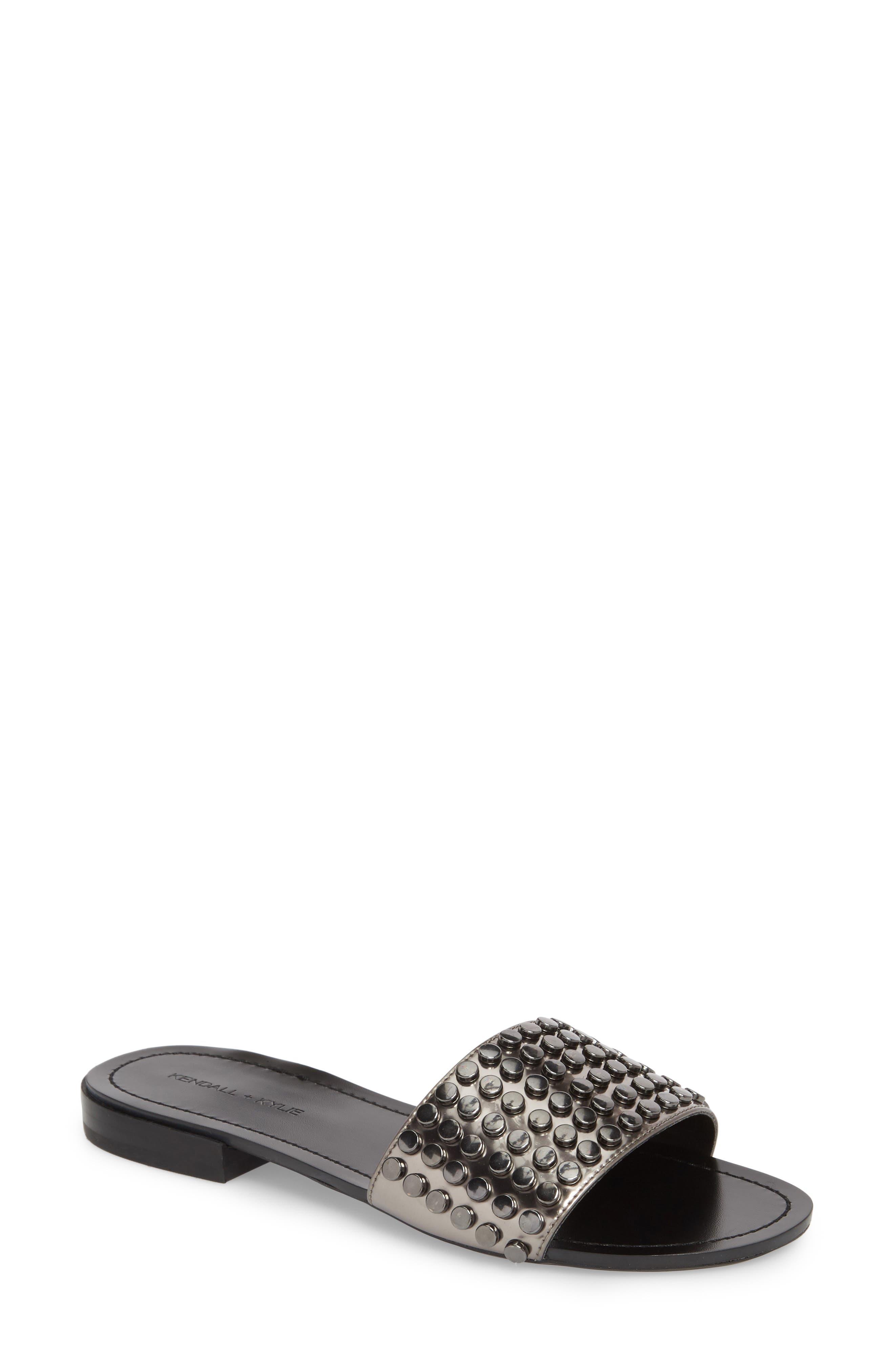 Kelsy Slide Sandal,                         Main,                         color, Pewter