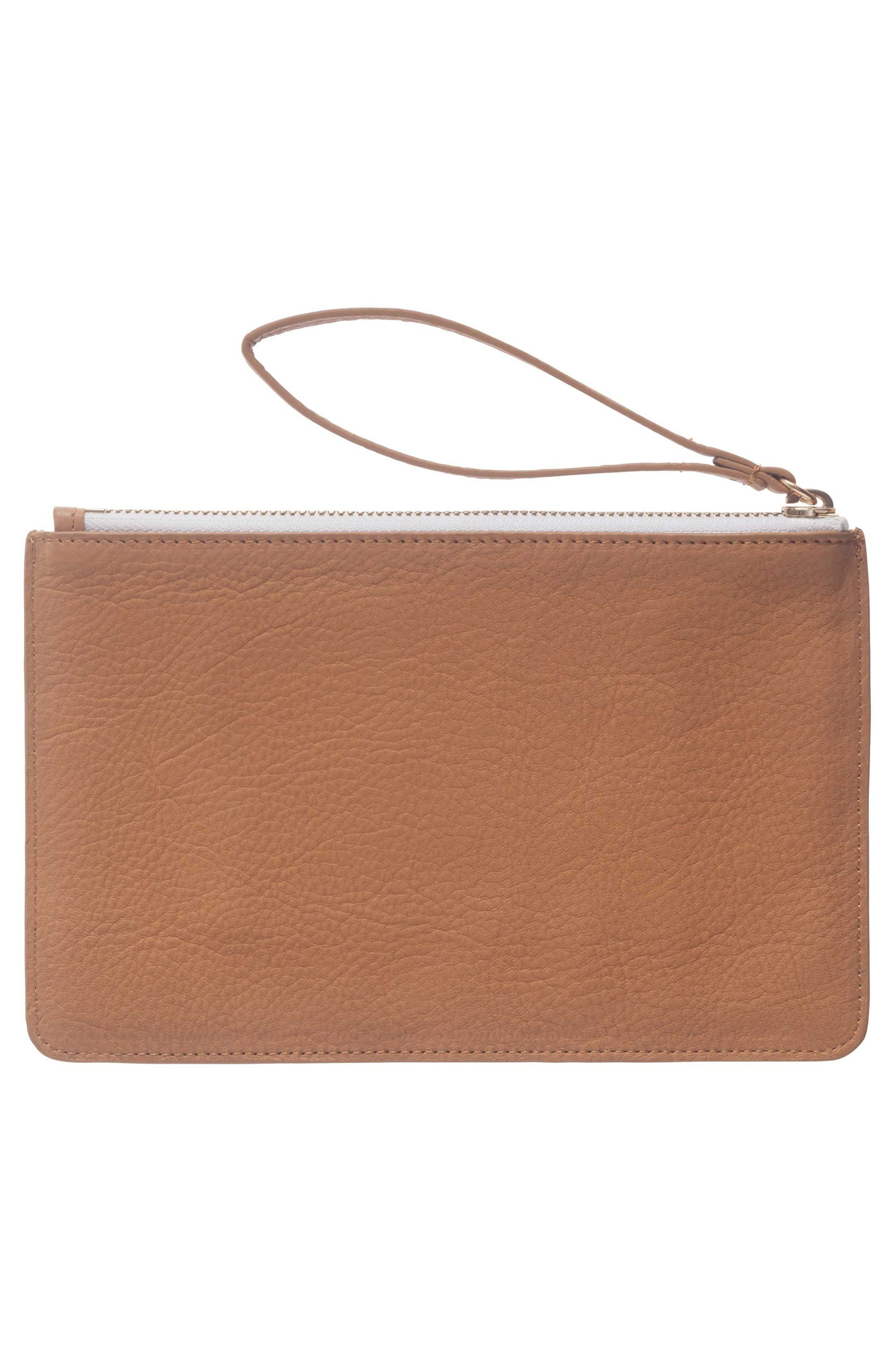 Privacy Leather Wristlet,                             Alternate thumbnail 3, color,                             Caramel