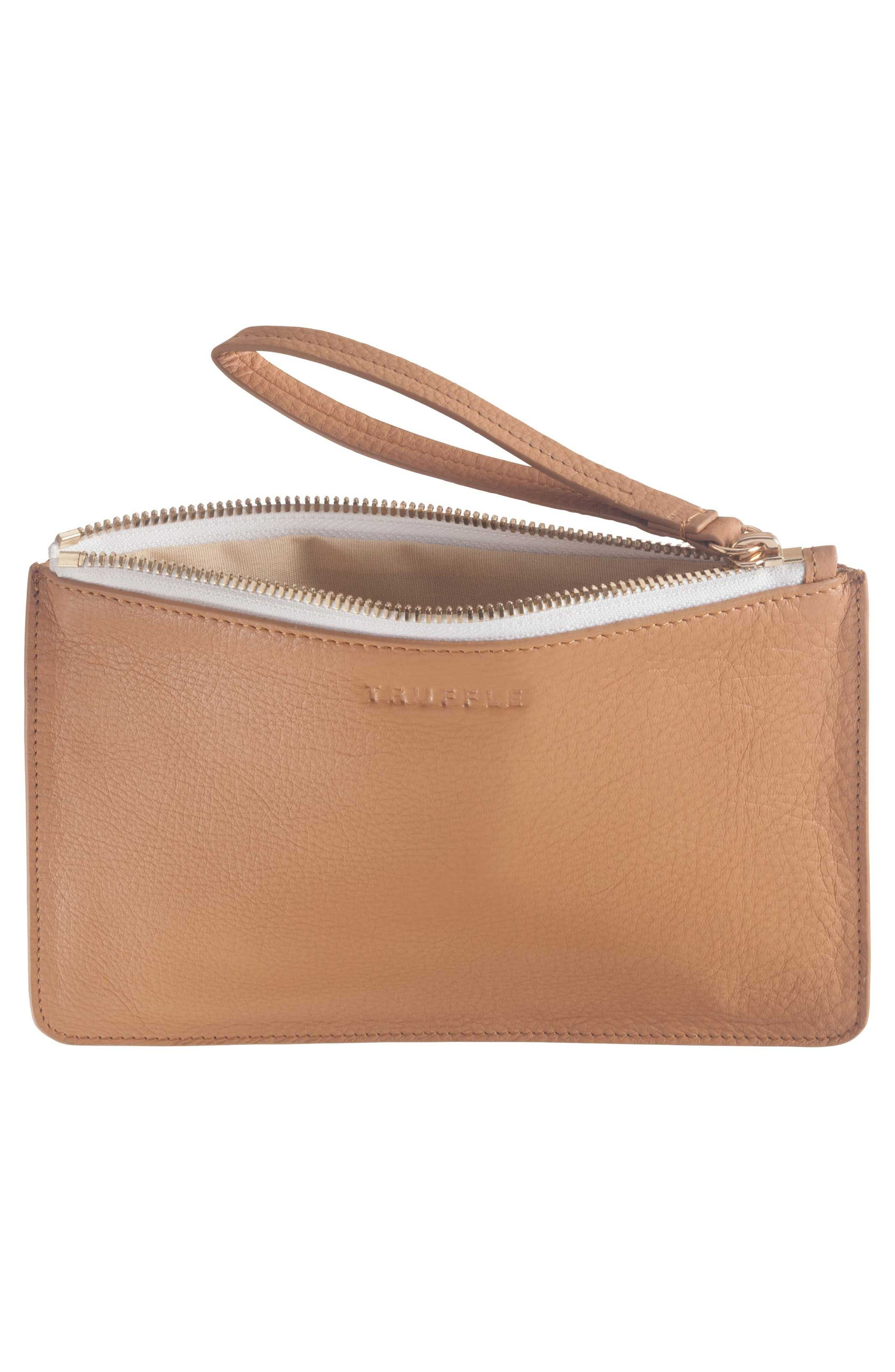Privacy Leather Wristlet,                             Alternate thumbnail 4, color,                             Caramel