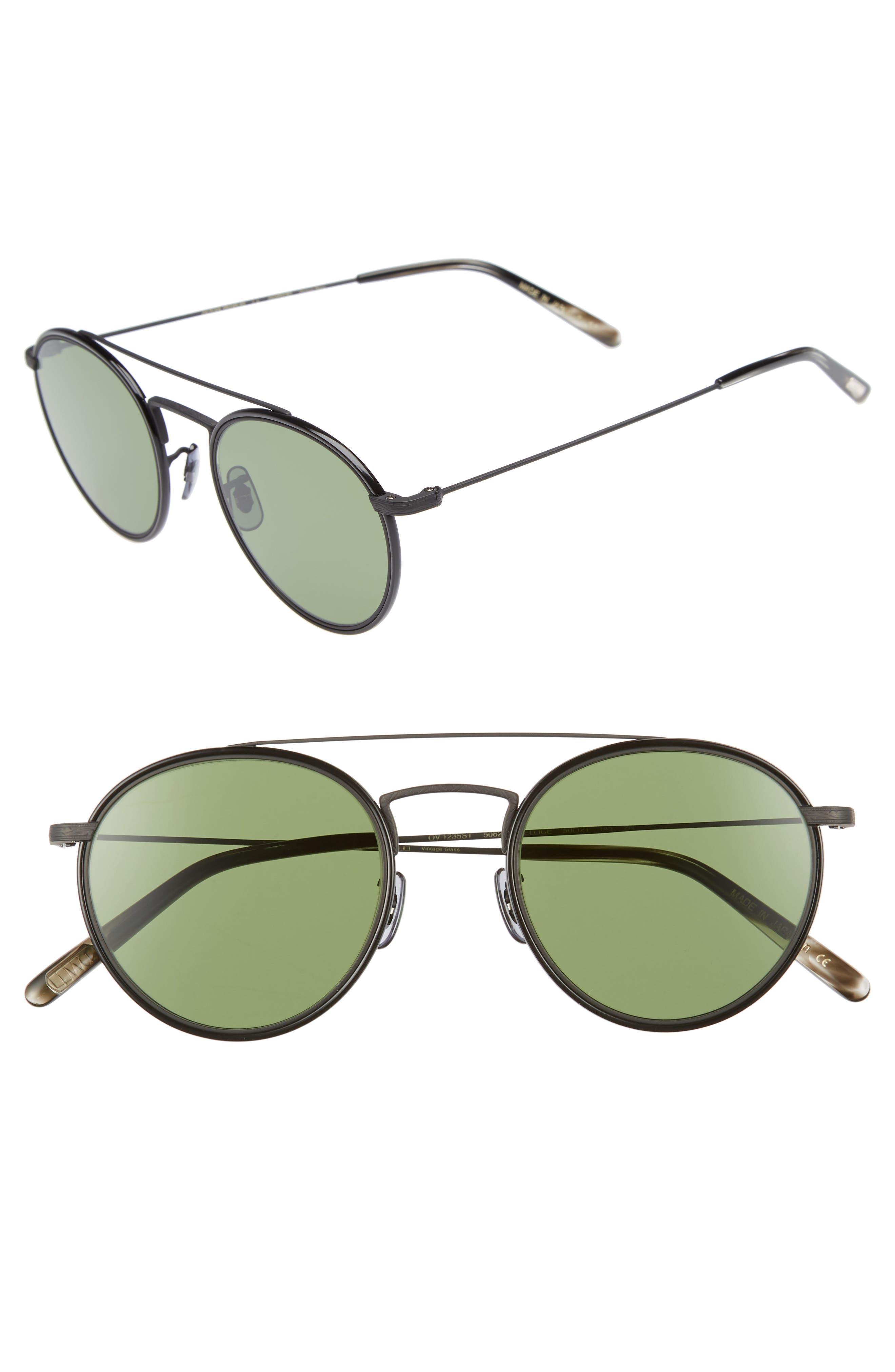 Ellice 50mm Round Sunglasses,                             Main thumbnail 1, color,                             Matte Black