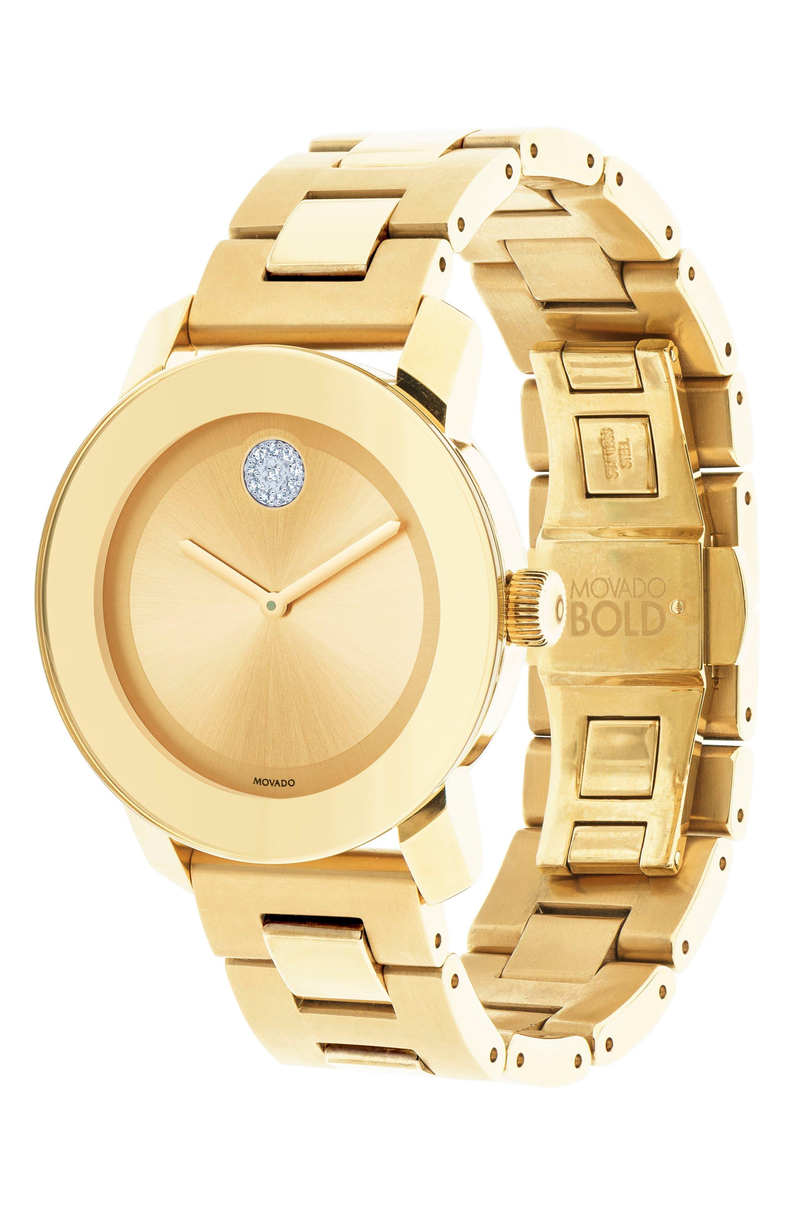 'Bold' Crystal Marker Bracelet Watch, 36mm,                             Alternate thumbnail 3, color,                             Gold