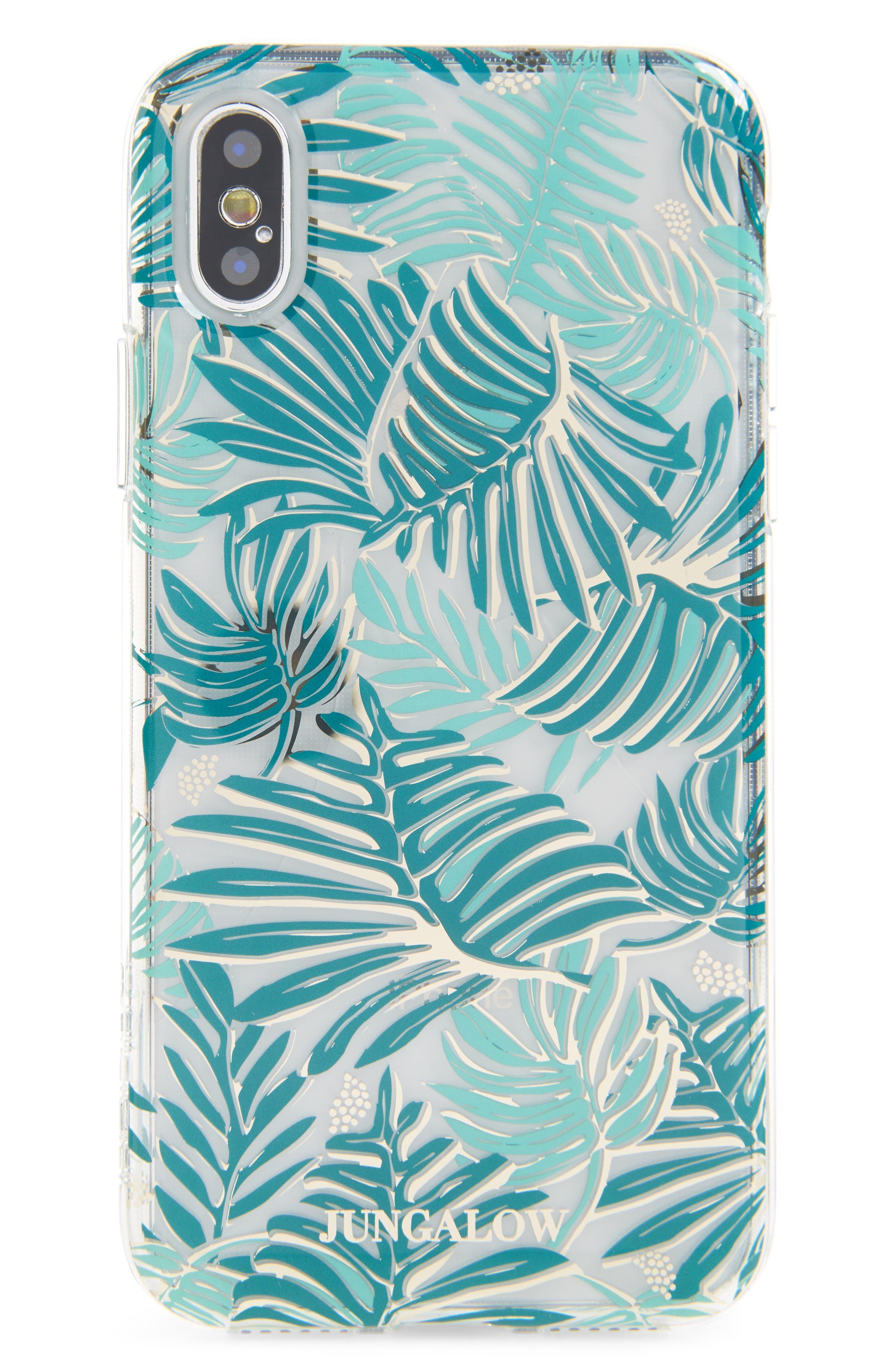 Jungalow Aja iPhone XPlus Case,                             Main thumbnail 1, color,                             Green Multi
