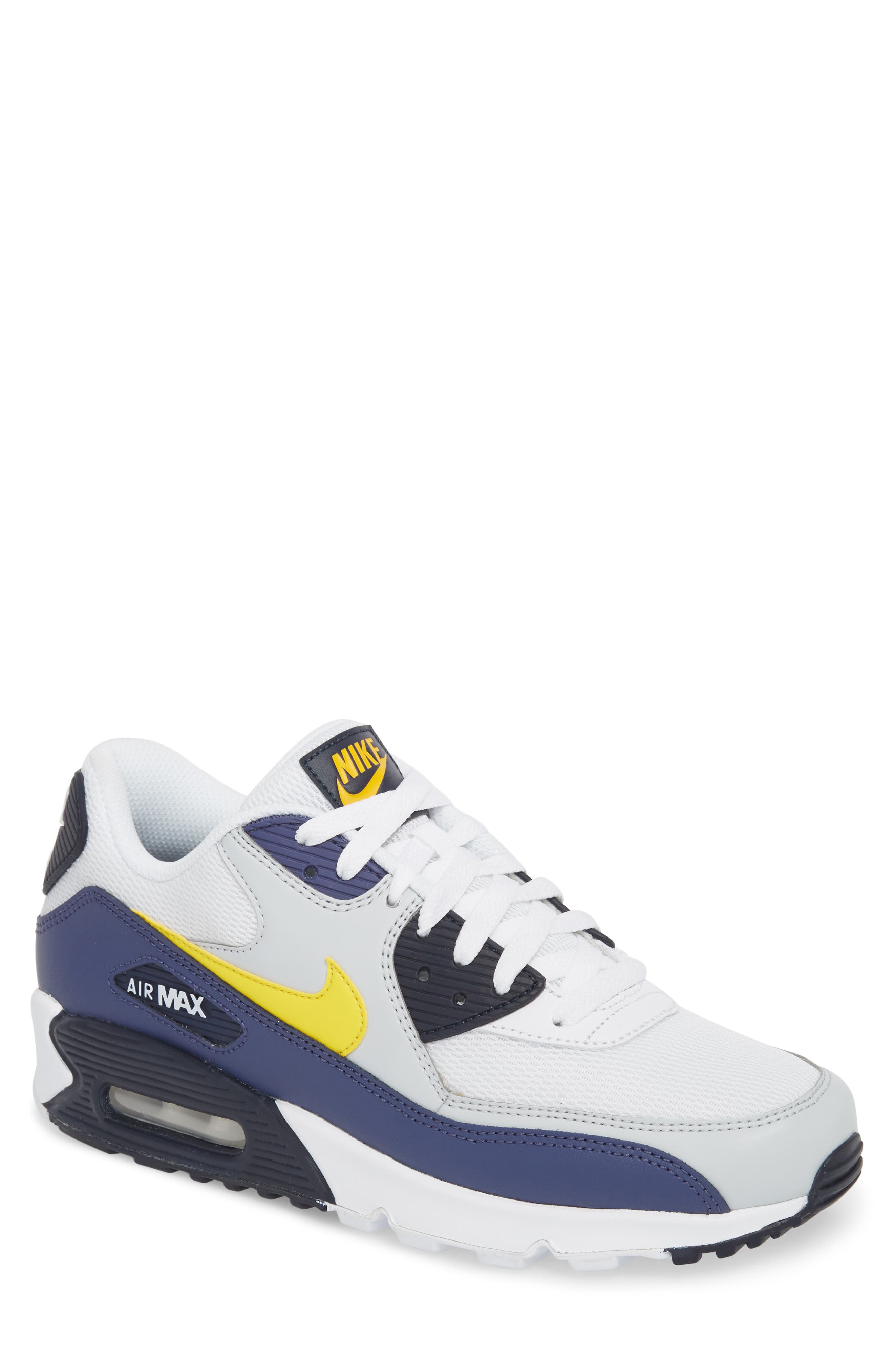 Air Max 90 Essential Sneaker,                             Main thumbnail 1, color,                             White/ Tour Yellow/ Blue
