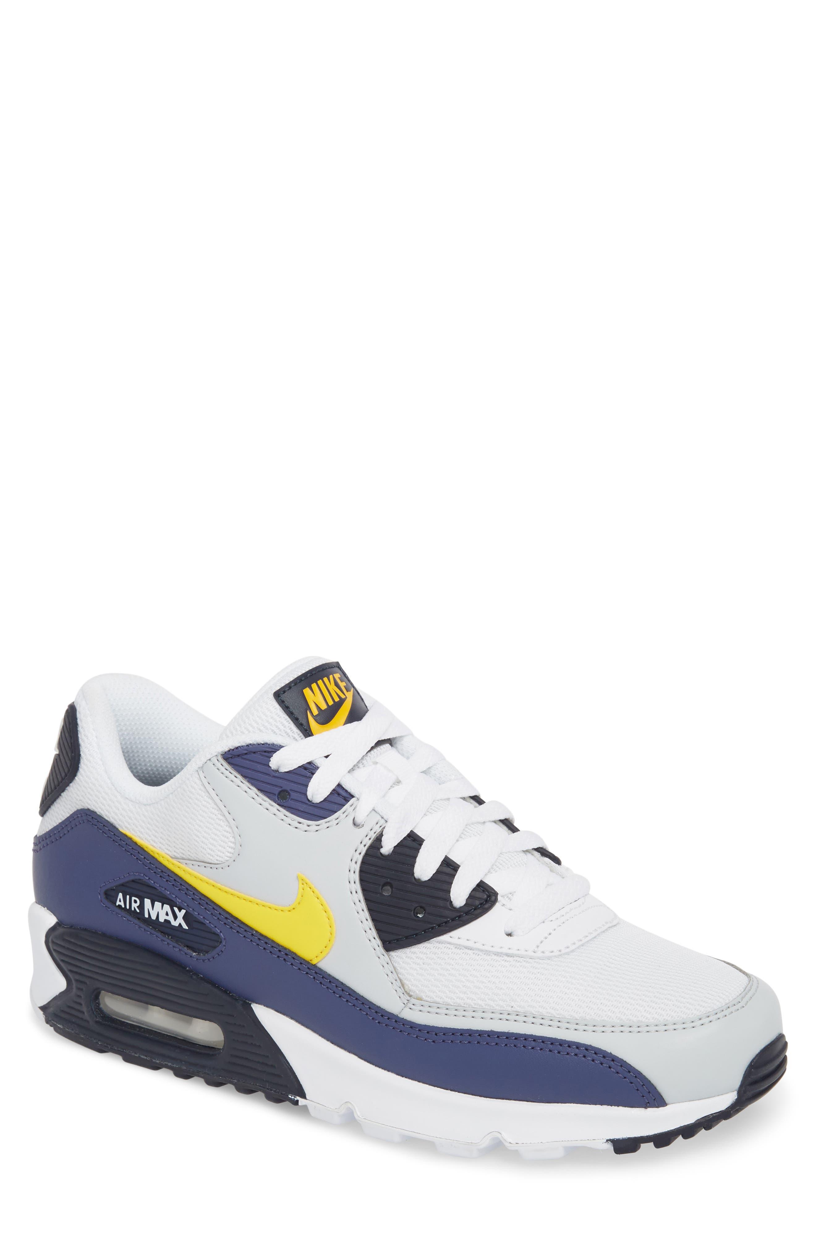 Air Max 90 Essential Sneaker,                         Main,                         color, White/ Tour Yellow/ Blue