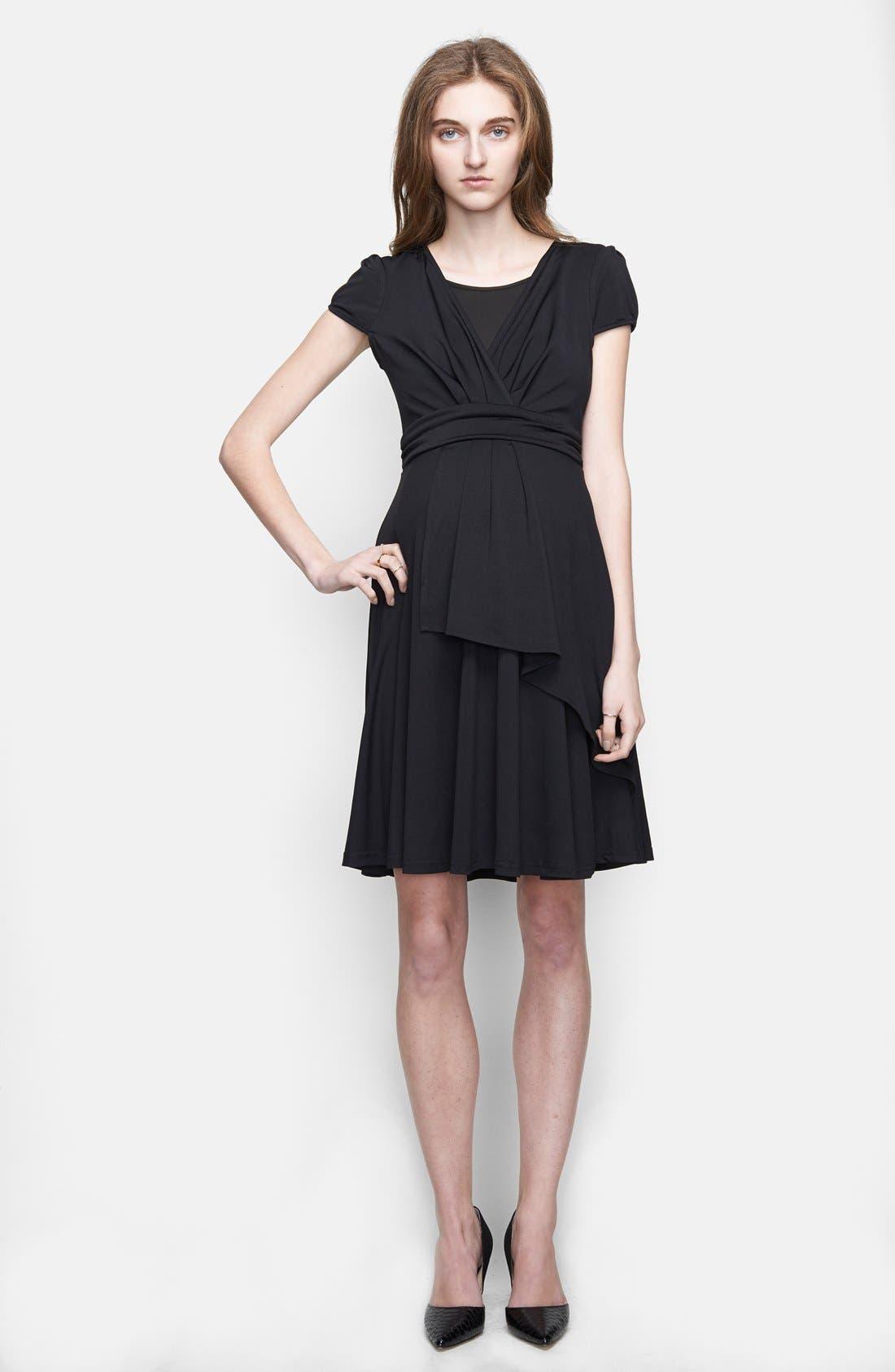 UrbanMA Faux Wrap Ruffle Maternity Dress,                         Main,                         color, Black